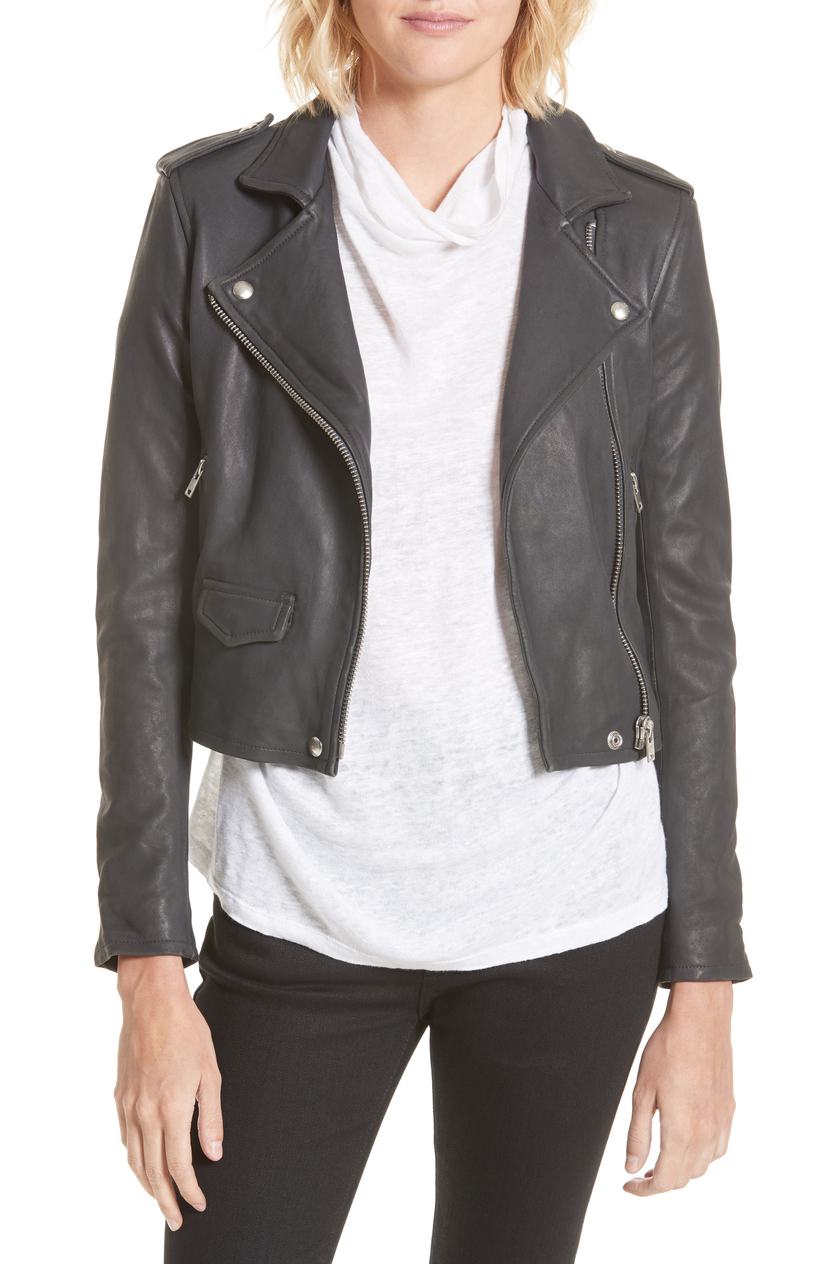 'Ashville' Lambskin Leather Moto Jacket,                         Main,                         color, Anthracite