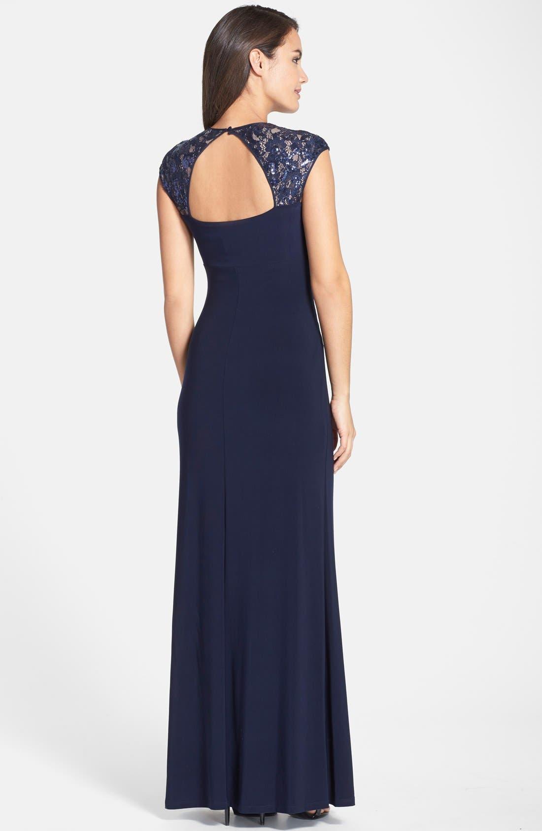 Alternate Image 2  - Lauren Ralph Lauren Sequin Lace Sleeve Jersey Gown (Regular & Petite)