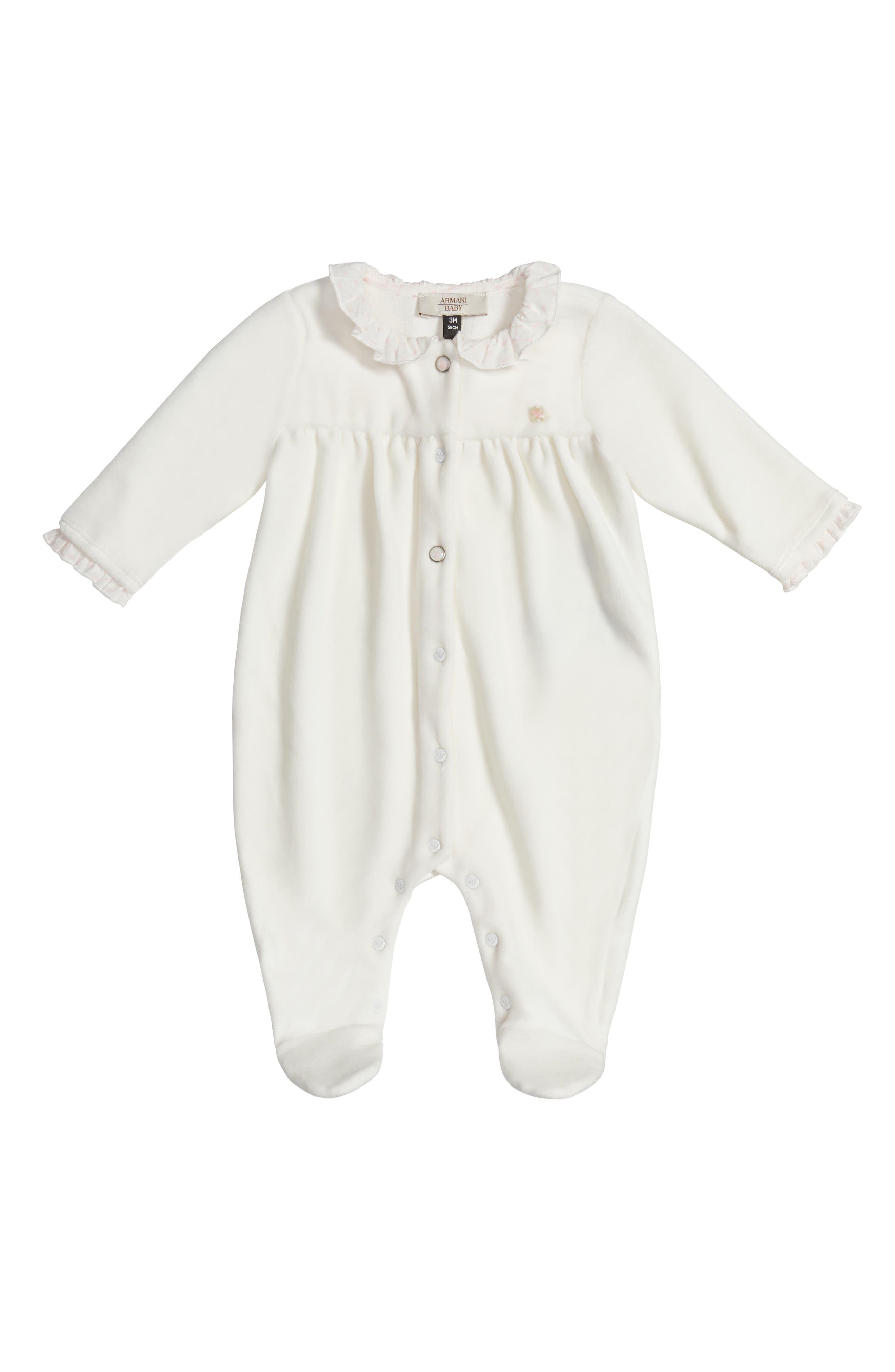 Armani Junior Ruffle Collar Footie (Baby Girls)