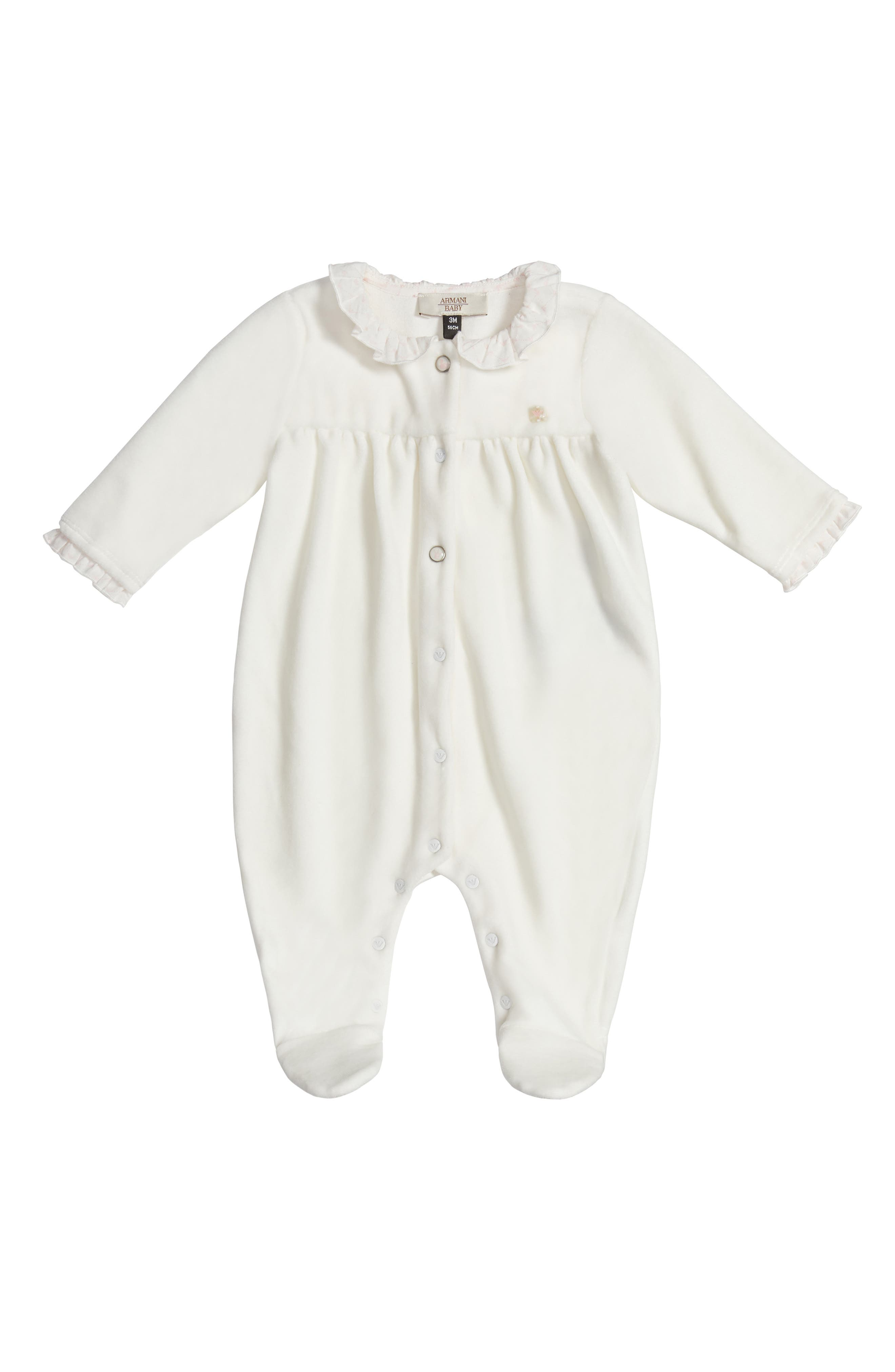 Armani Junior Ruffle Collar Footie (Baby Girls)