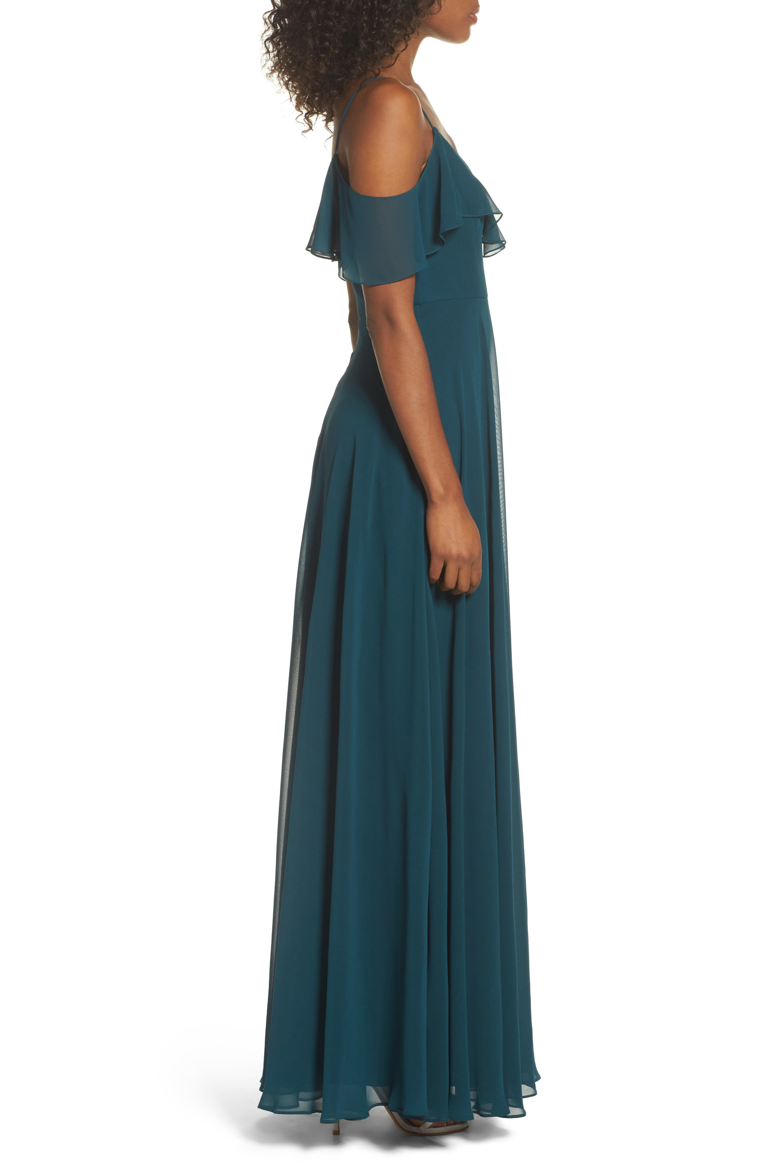Alternate Image 3  - Jenny Yoo Cold Shoulder Chiffon Gown