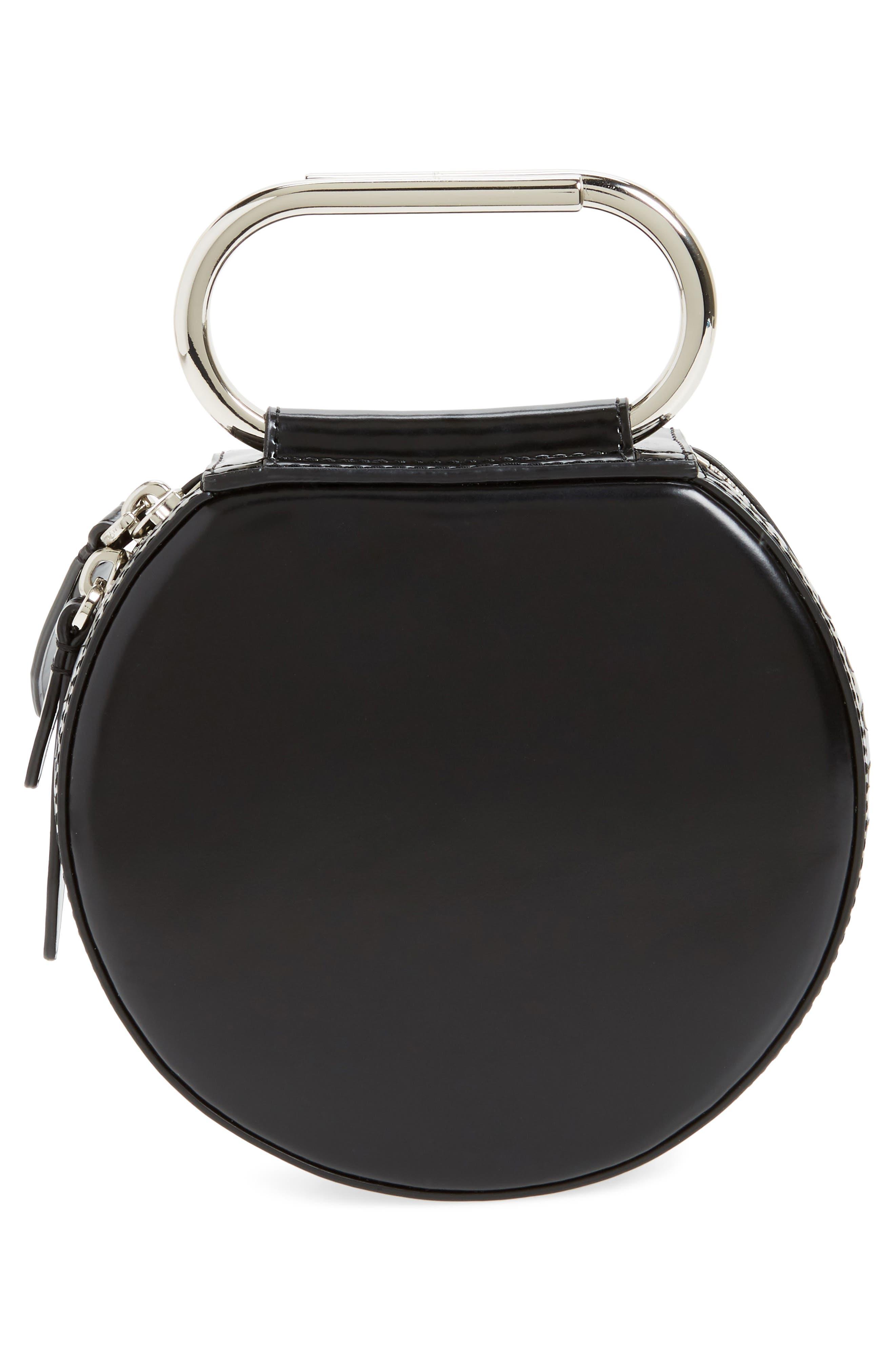 Alix Leather Circle Clutch,                             Alternate thumbnail 3, color,                             Black