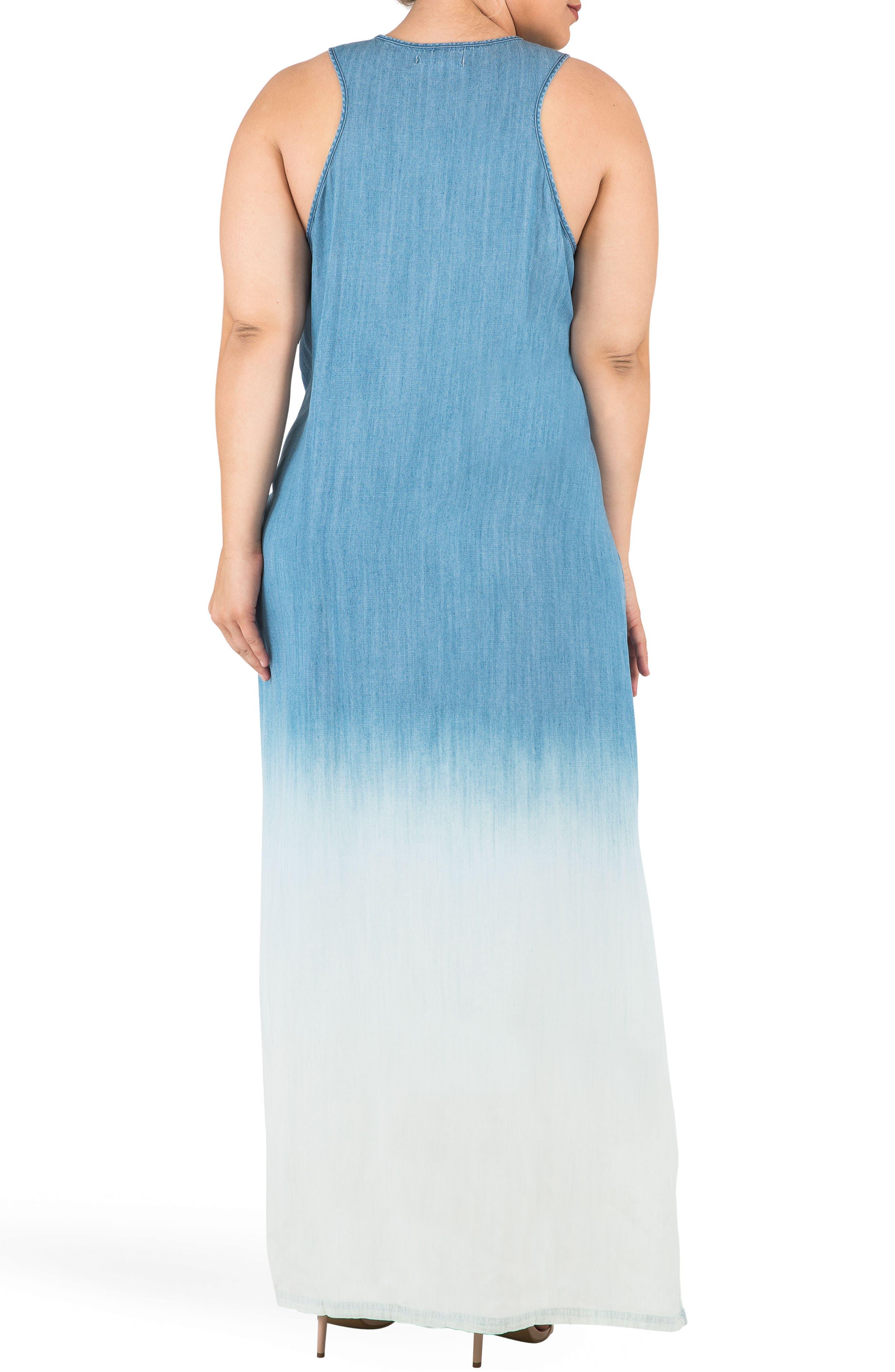 Angie Ombré Chmbray Maxi Dress,                             Alternate thumbnail 2, color,                             Blue