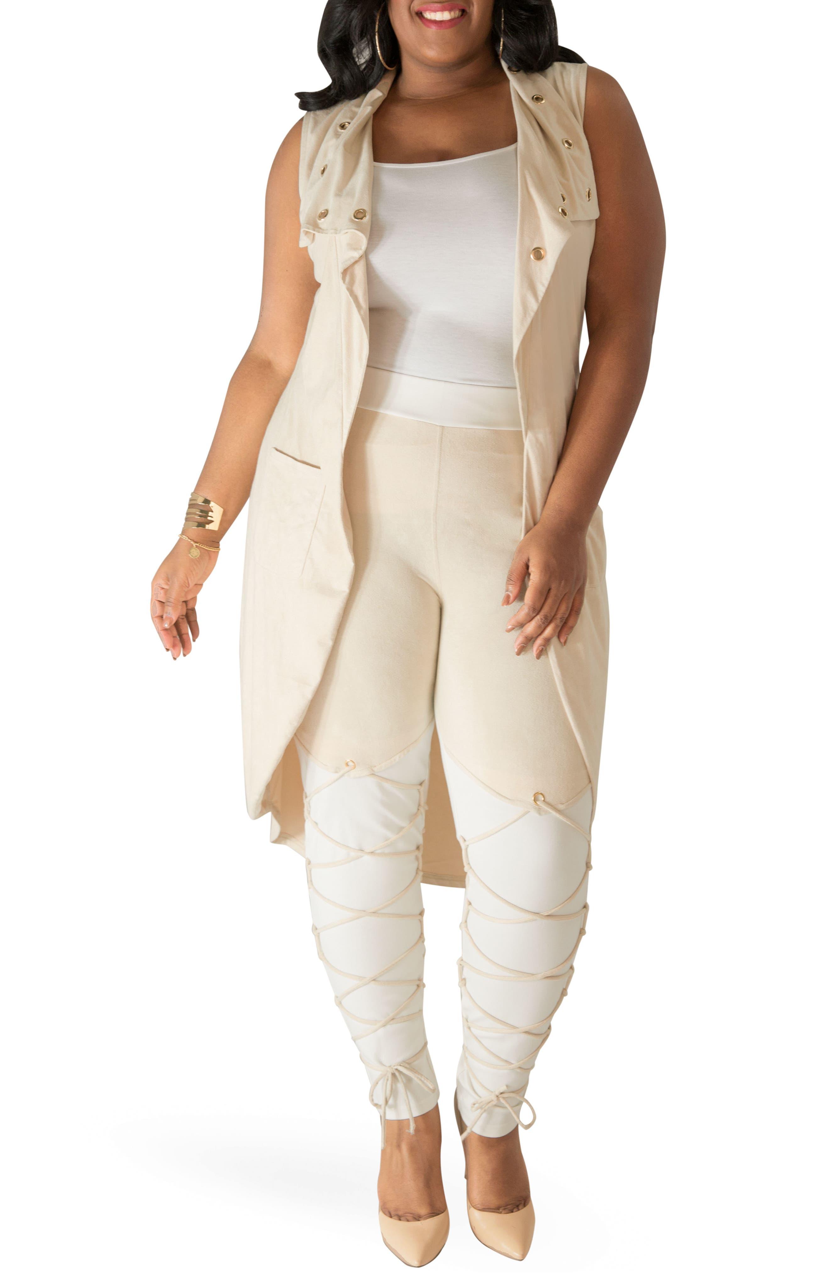 Alternate Image 2  - Poetic Justice Kelis Long Faux Suede Vest (Plus Size)