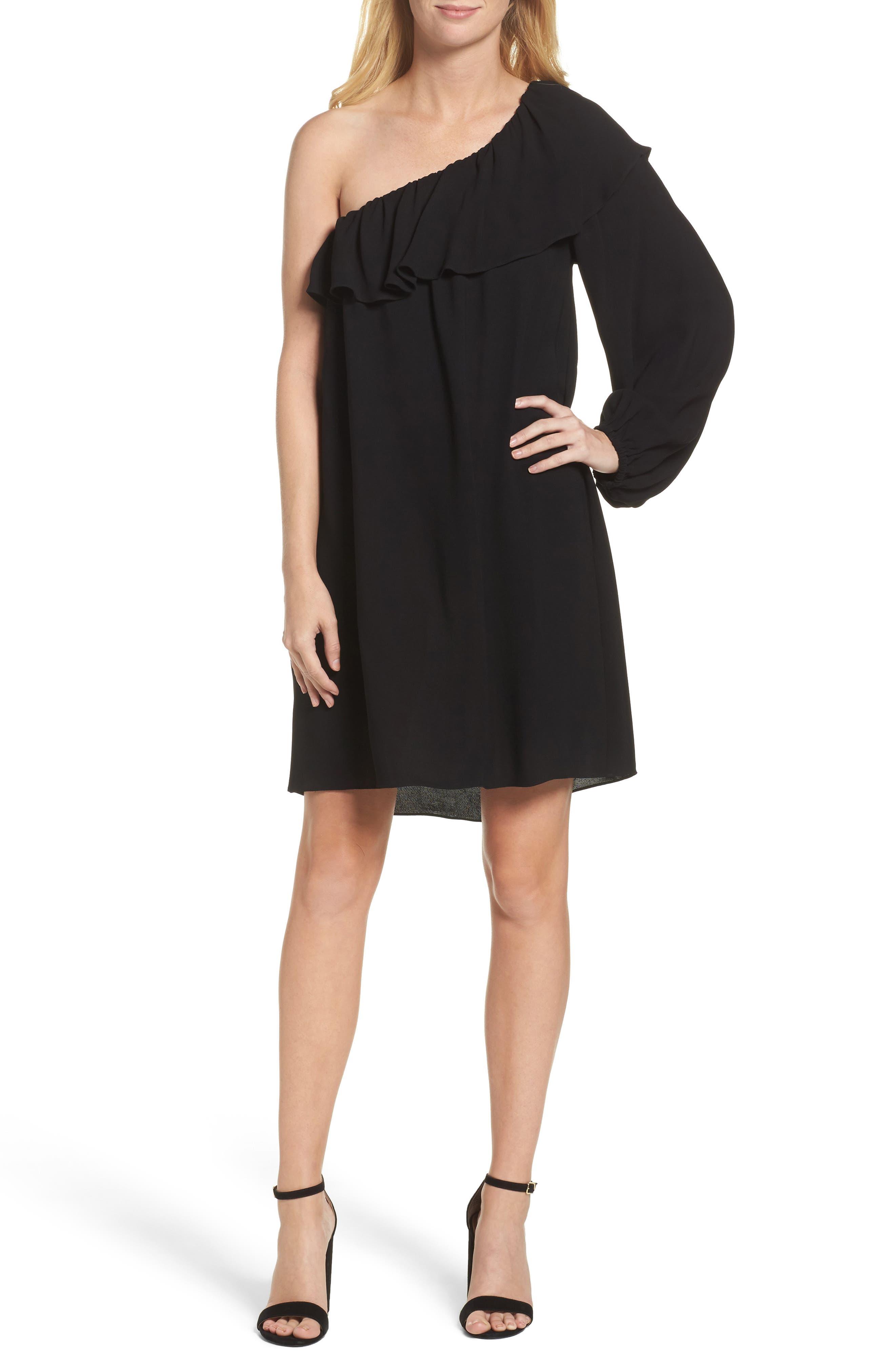 Evening Dew One-Shoulder Dress,                         Main,                         color, Black