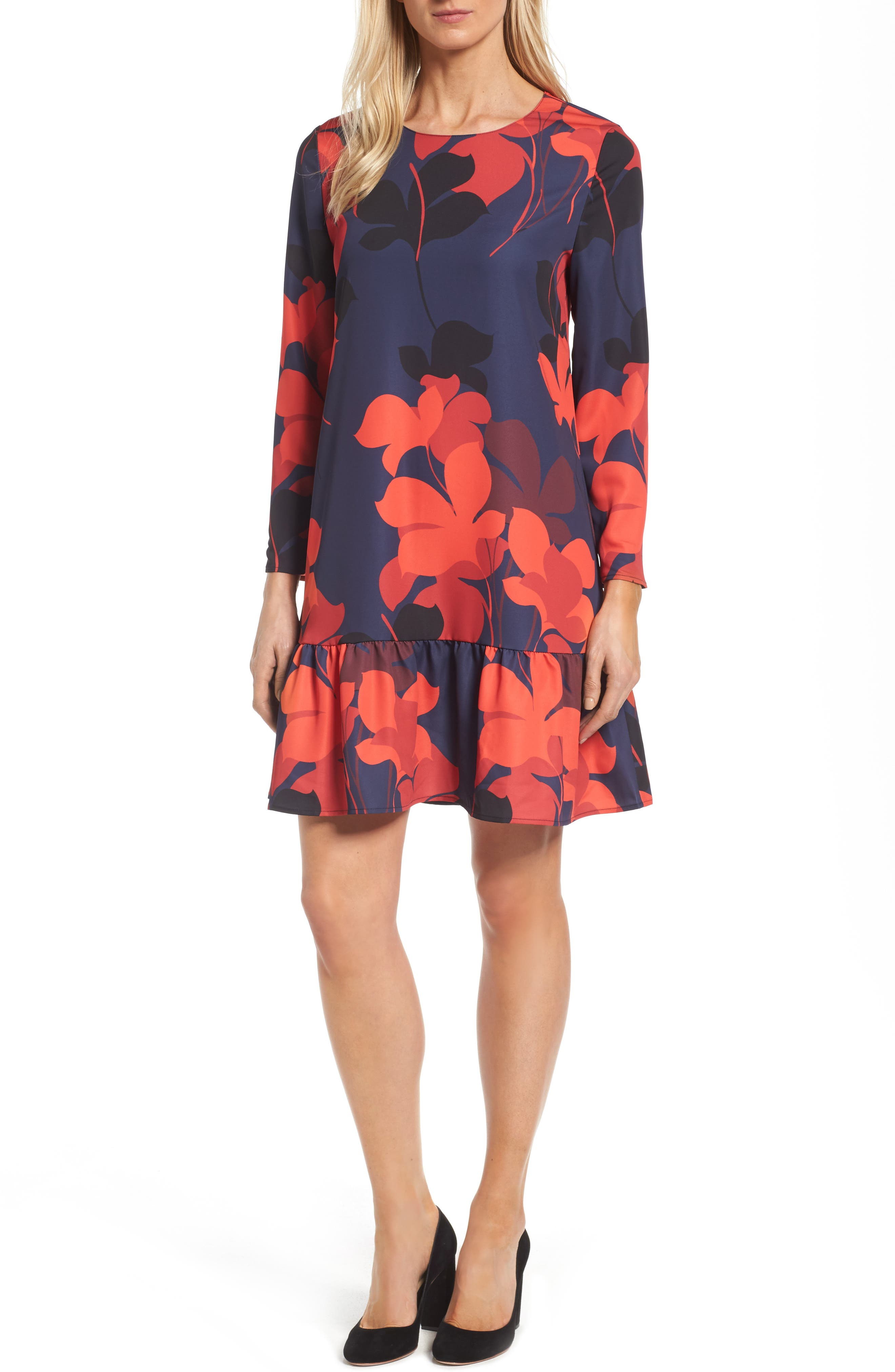 Alternate Image 1 Selected - Halogen® Button Back Ruffle Hem Dress (Regular & Petite)
