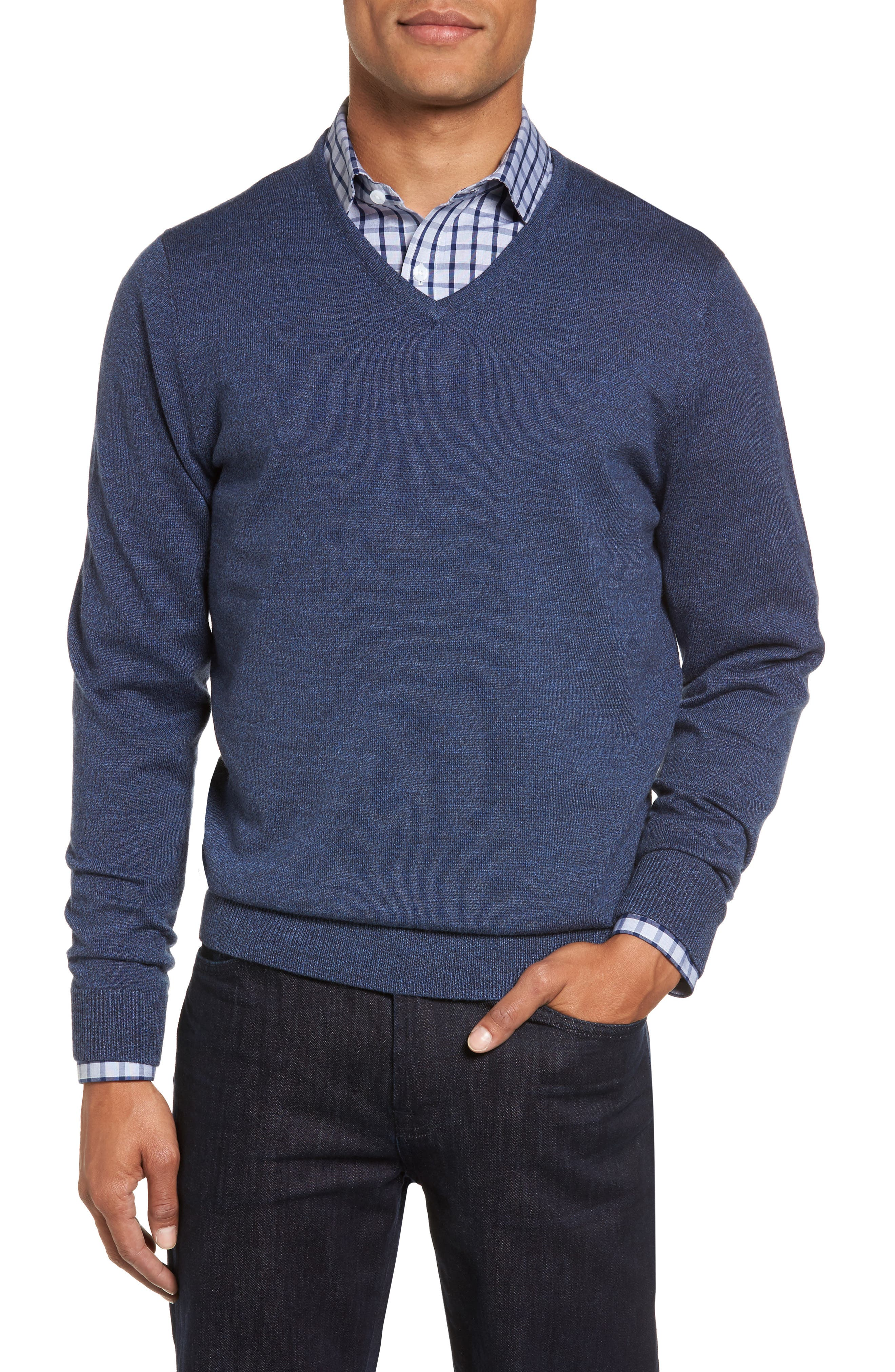 Nordstrom Men's Shop V-Neck Merino Wool Sweater (Regular & Tall)