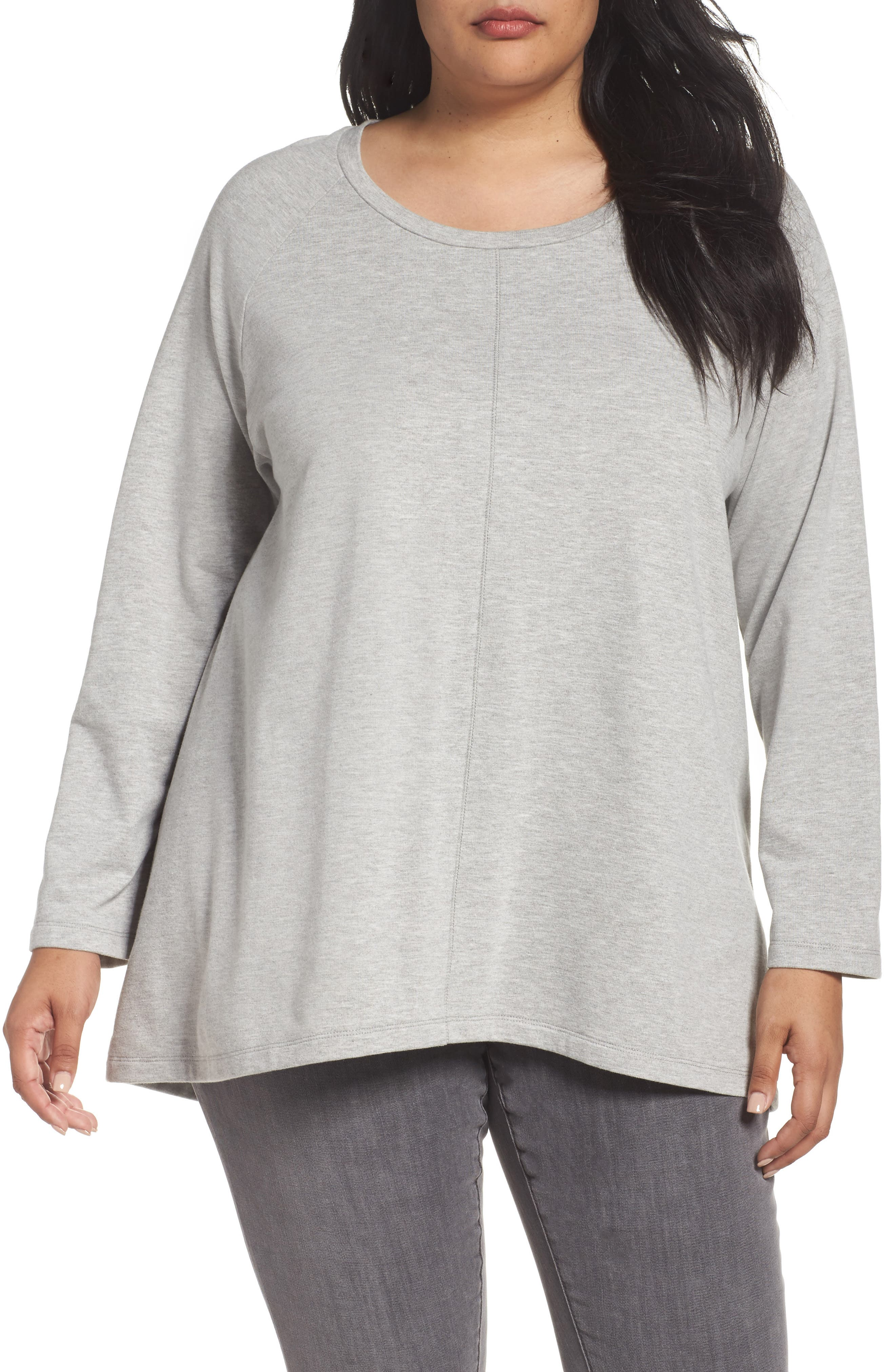 High/Low Sweatshirt,                         Main,                         color, Heather Grey