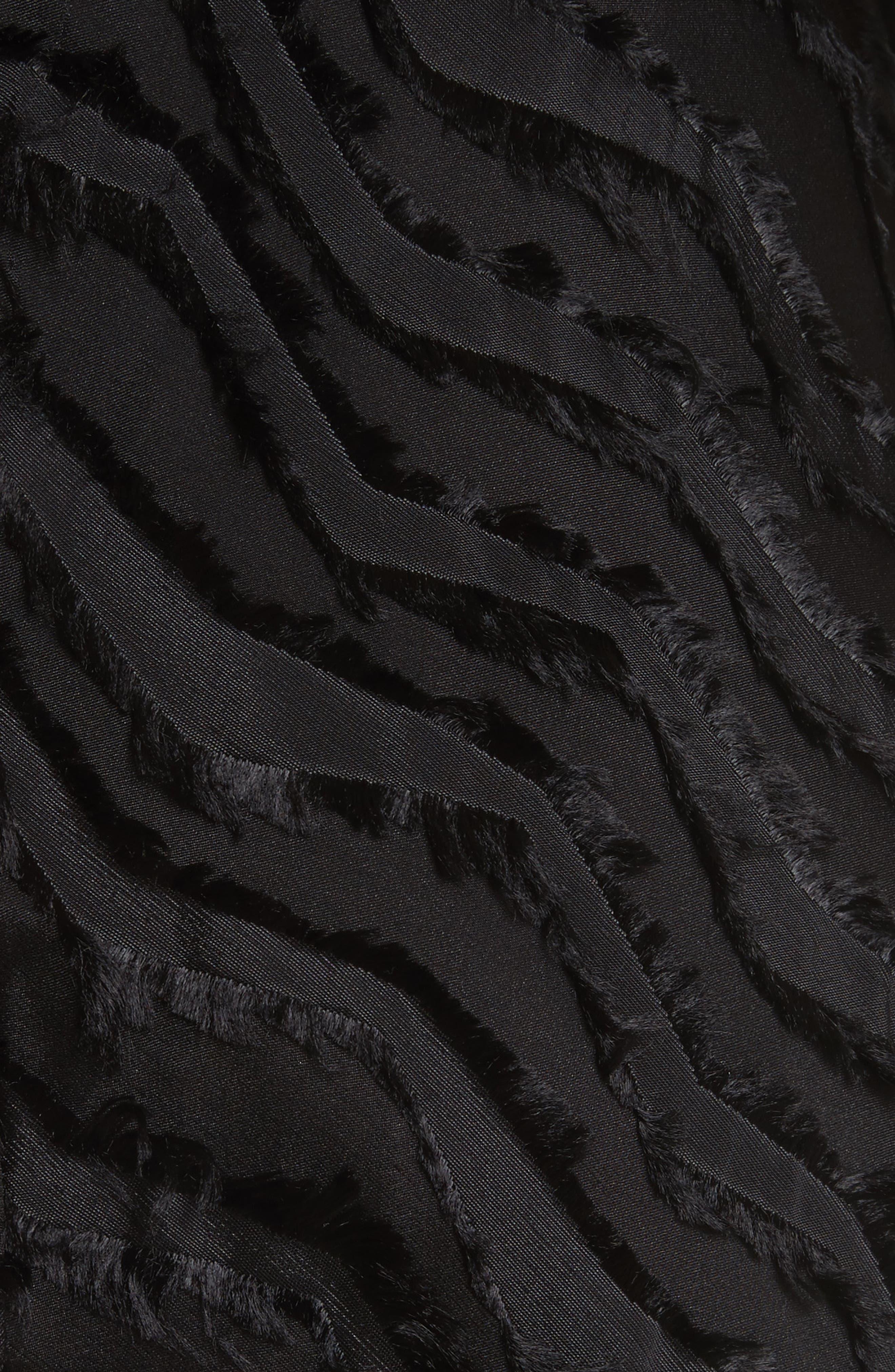Chevron Fringe Fil Coupé Dress,                             Alternate thumbnail 6, color,                             Black