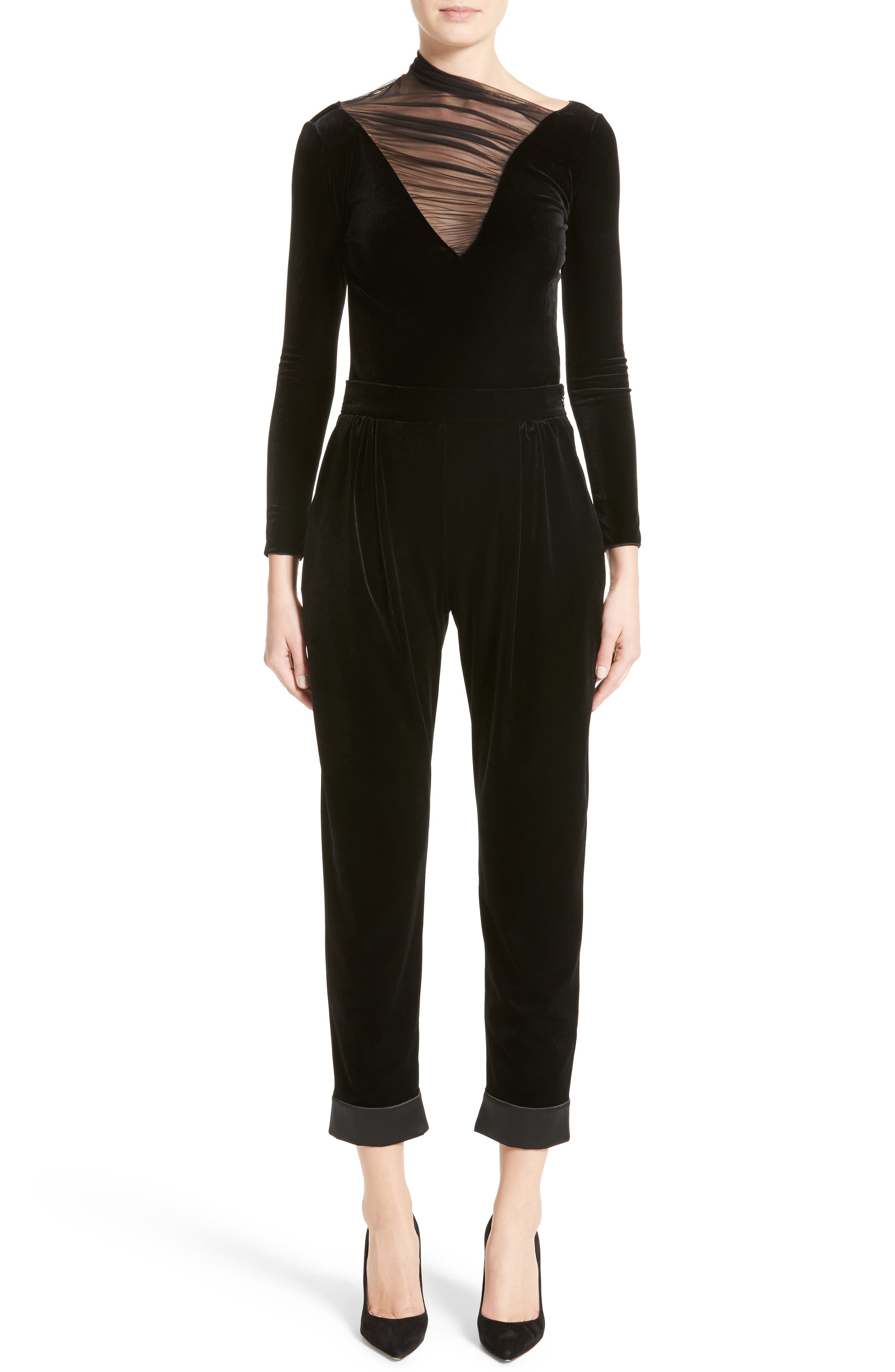 Alternate Image 7  - Armani Collezioni Stretch Velvet Ankle Pants