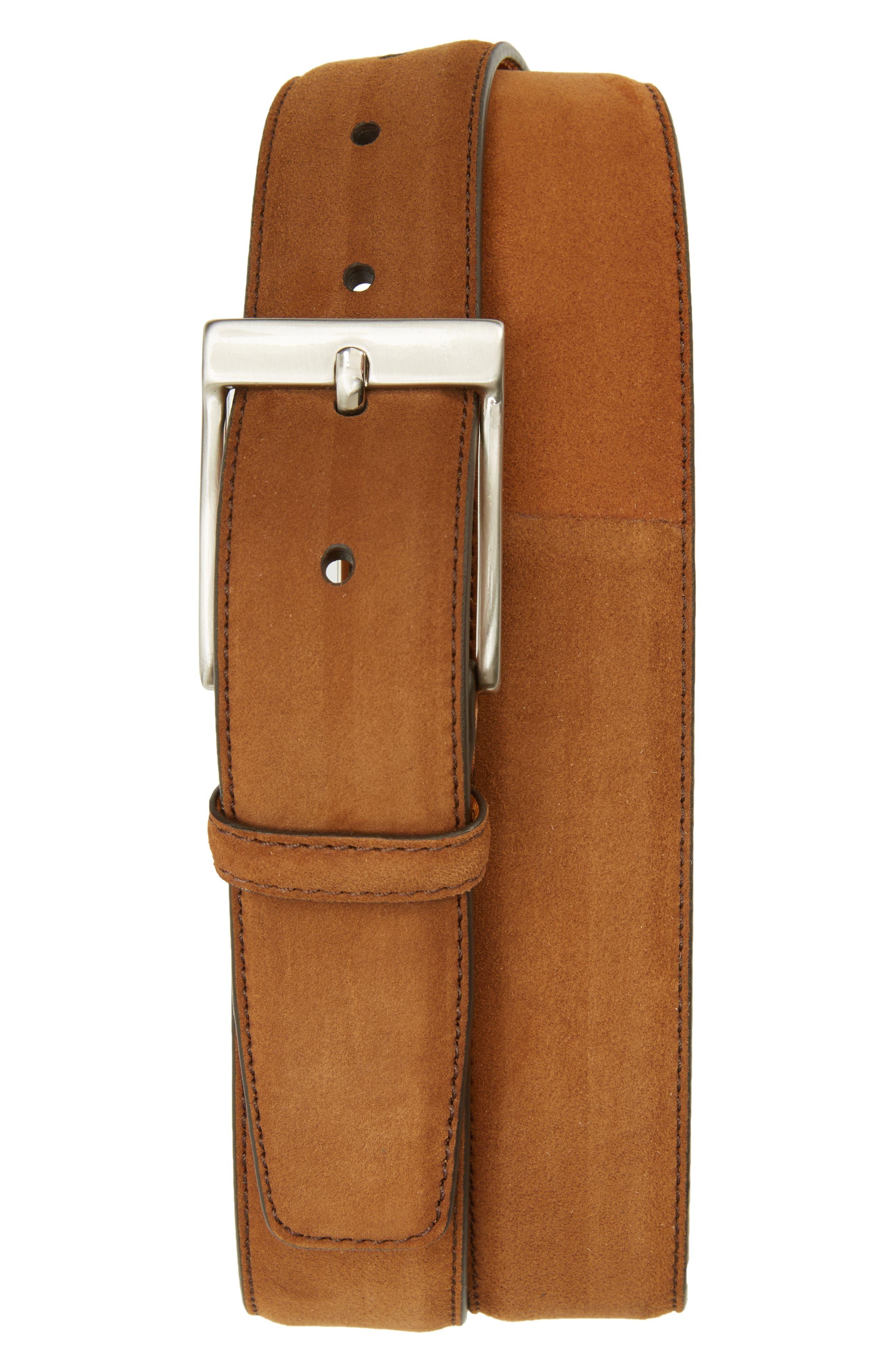 Ante Cabra Leather Belt,                             Main thumbnail 1, color,                             Cognac