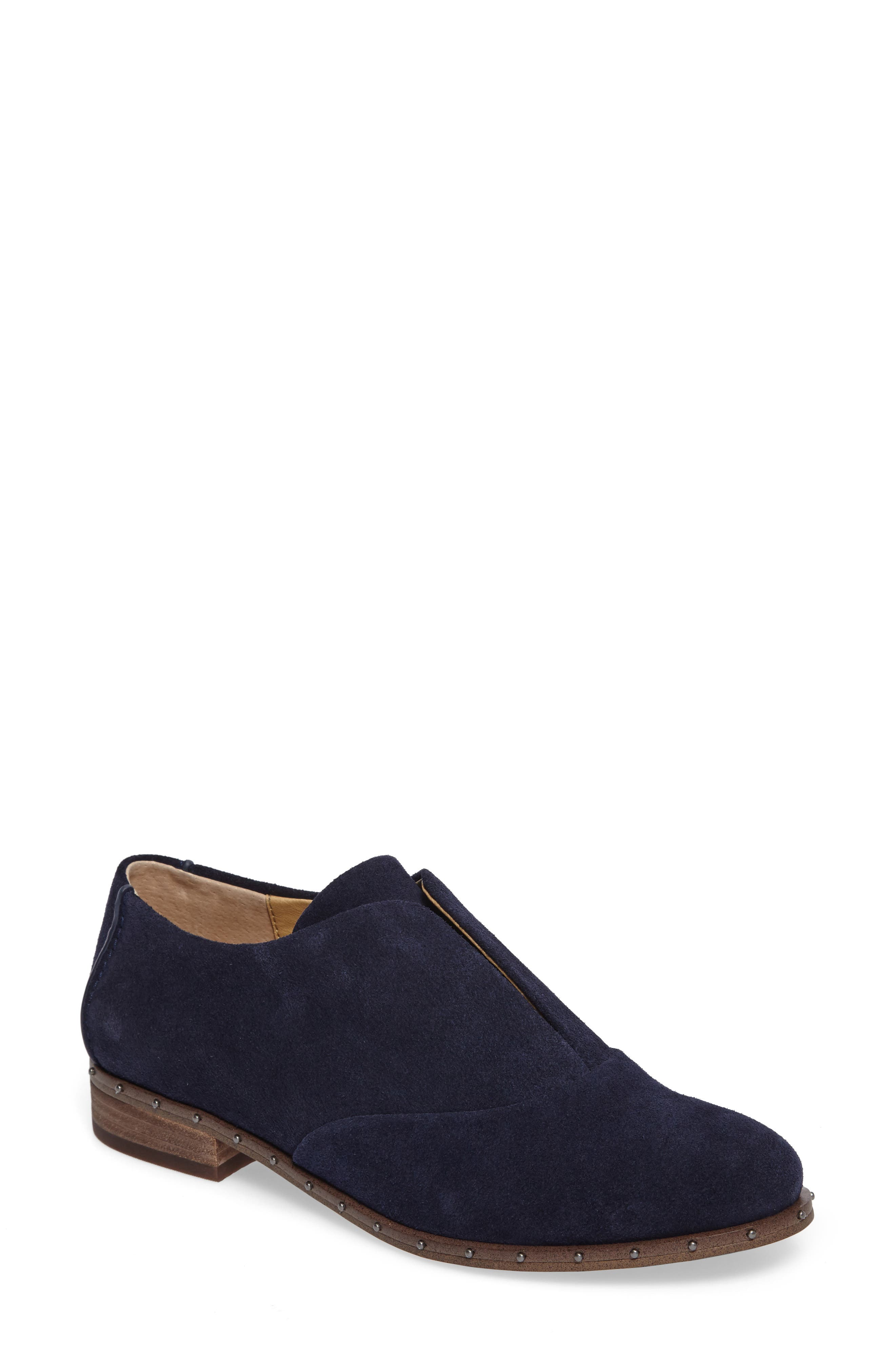 Deandra Studded Laceless Oxford,                             Main thumbnail 1, color,                             Navy Suede