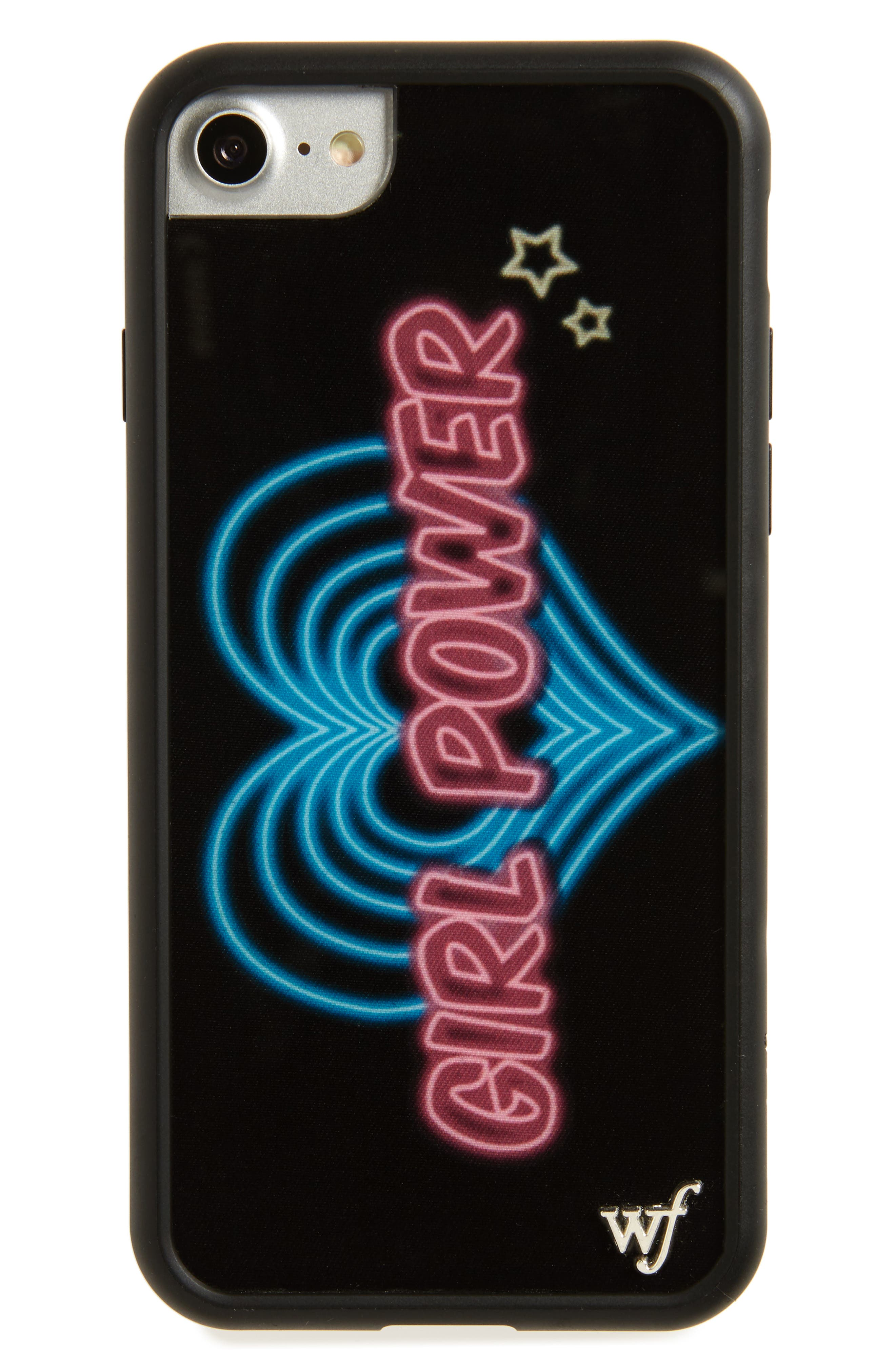 Neon Girl Power iPhone 7 Case,                             Main thumbnail 1, color,                             Black/ Pink