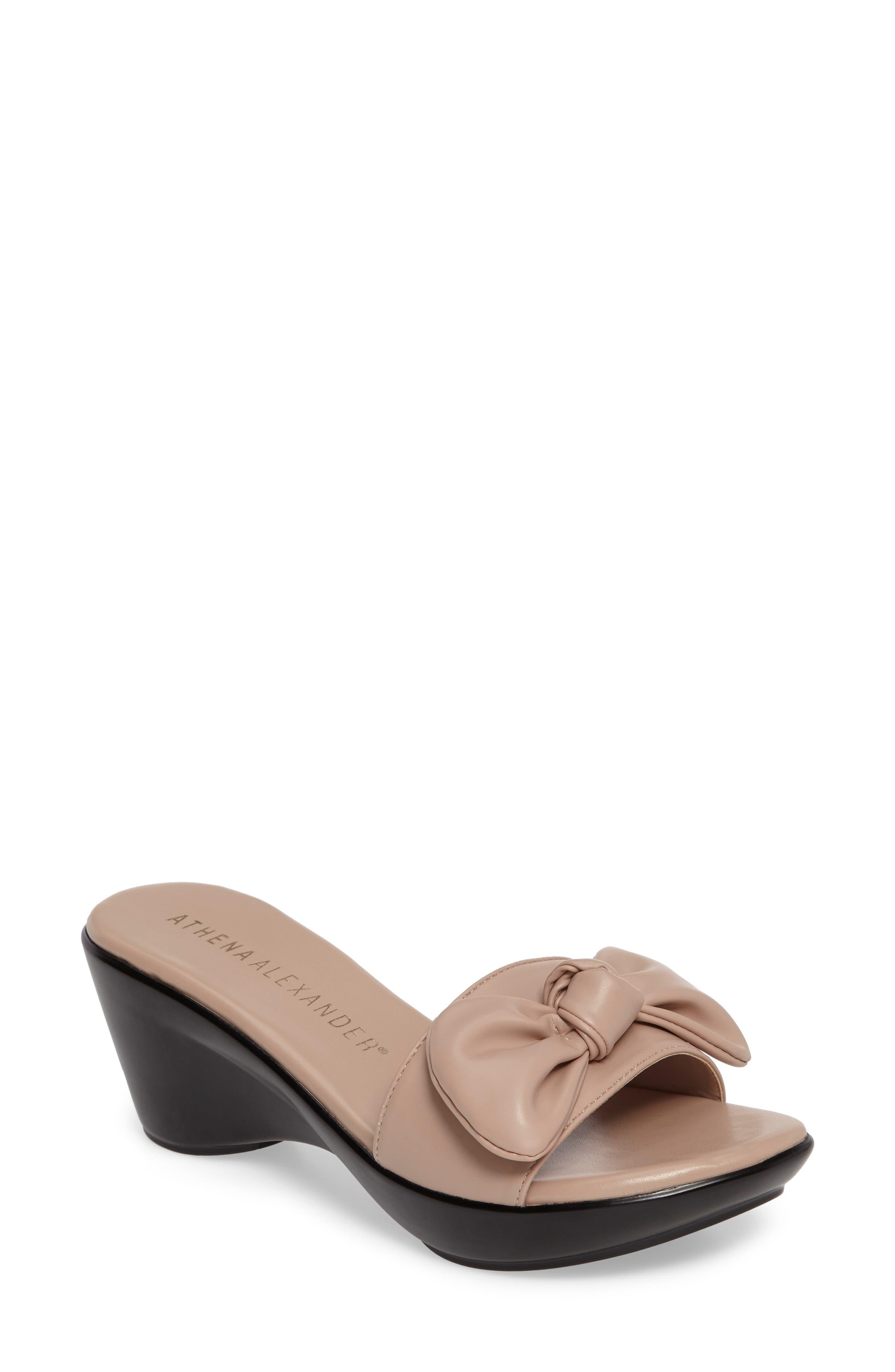 Pattye Knotted Slide Sandal,                             Main thumbnail 1, color,                             Blush Faux Leather