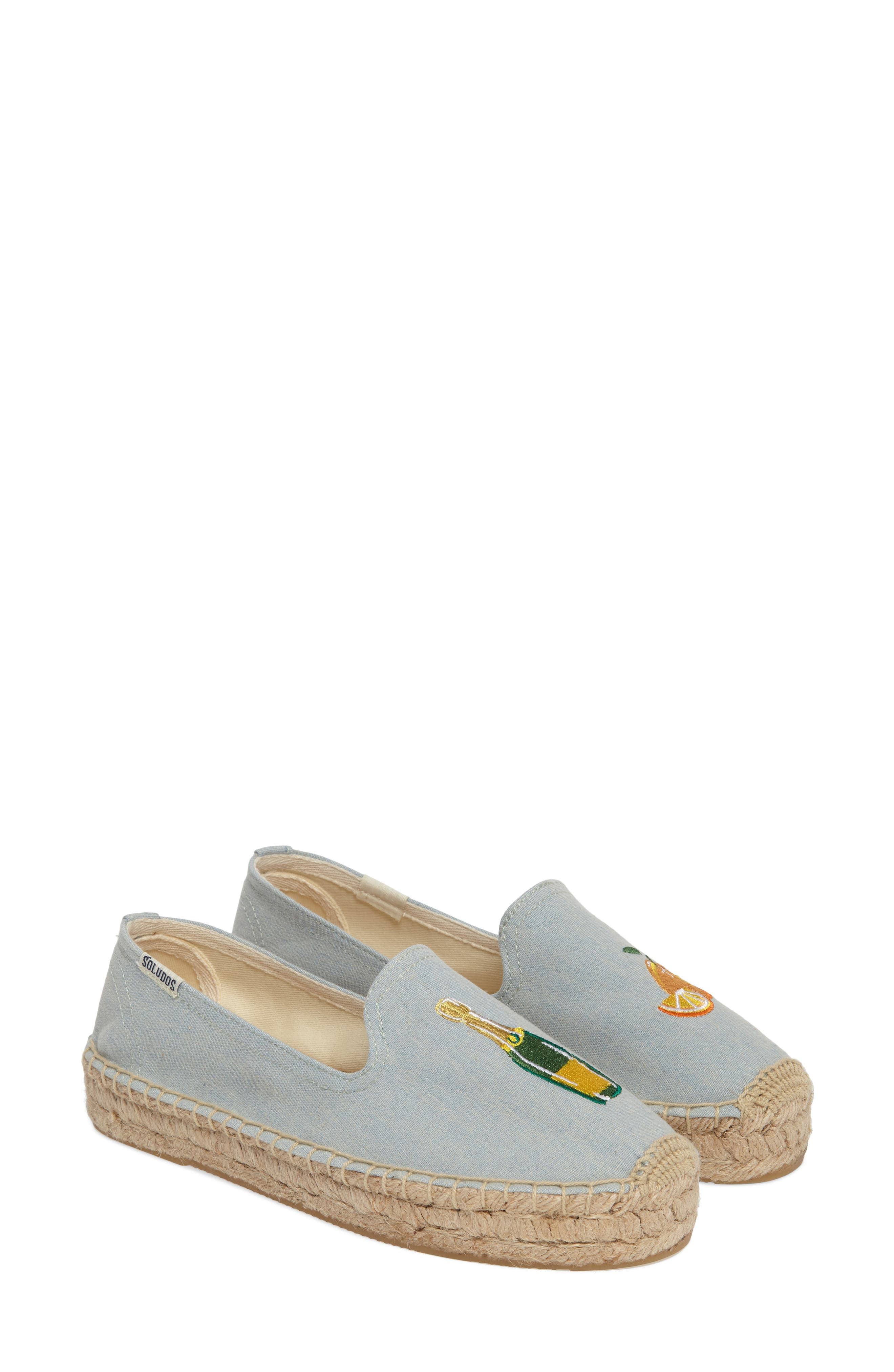 Mimosa Embroidered Platform Espadrille,                         Main,                         color, Chambray