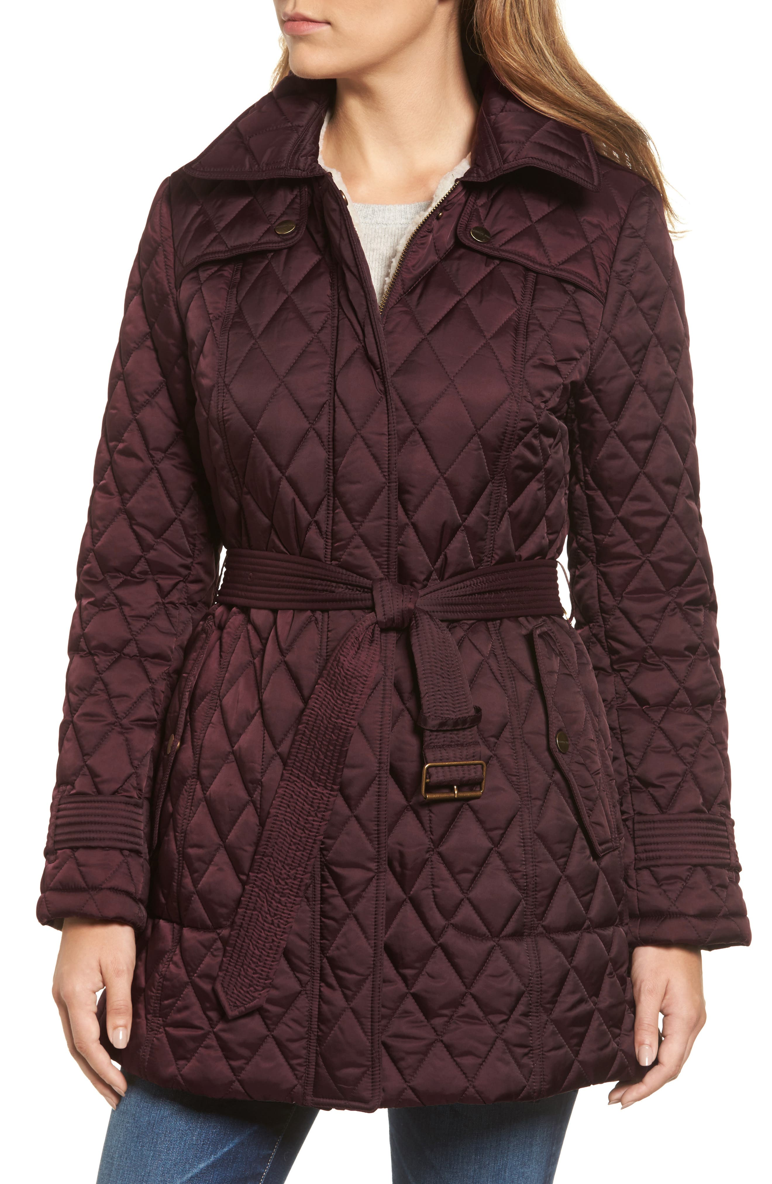 Alternate Image 4  - London Fog Quilted Coat with Faux Shearling Lining