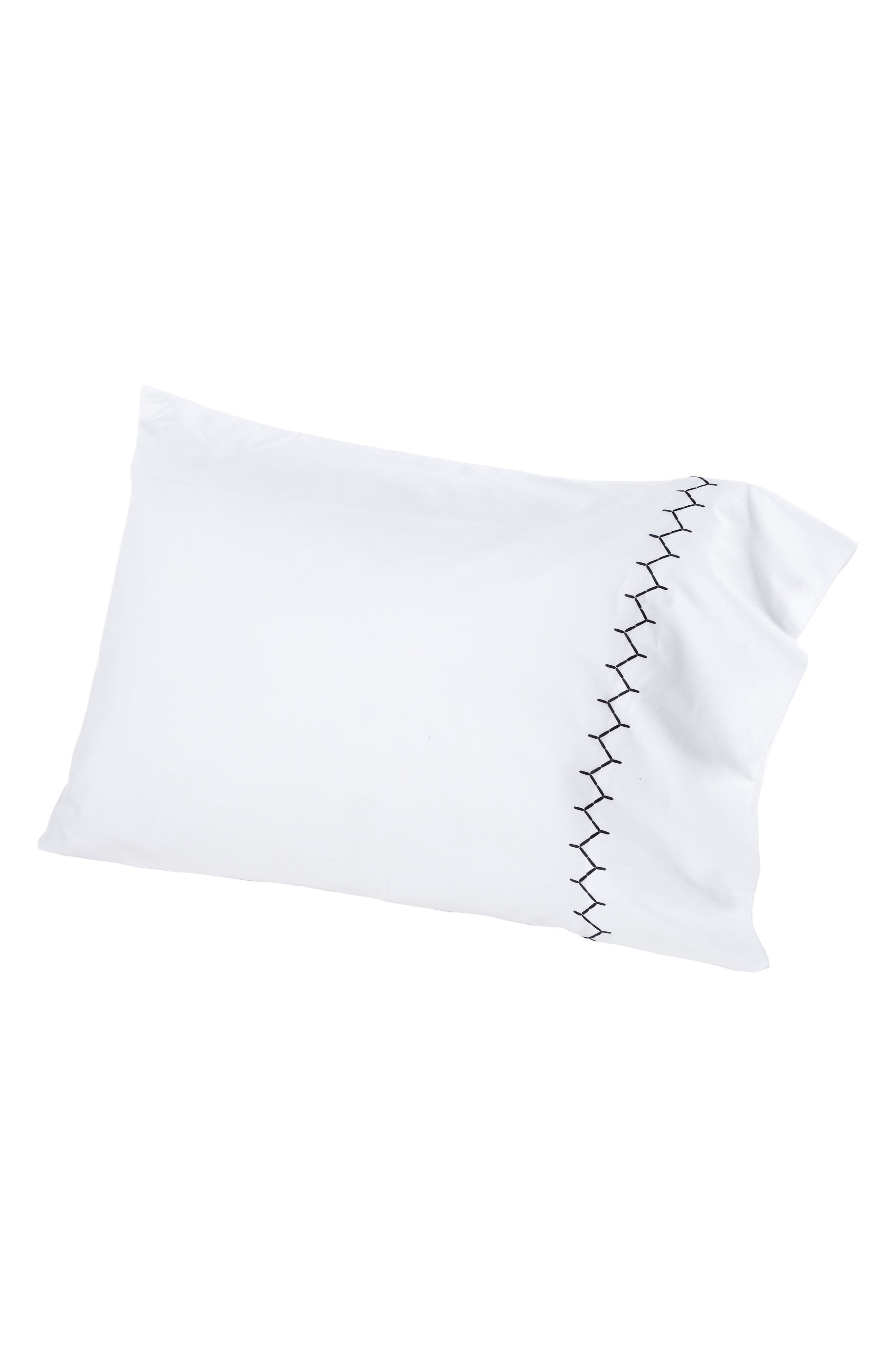 Stitched Set of 2 Combed Cotton Pillow Cases,                         Main,                         color, Ink/ White