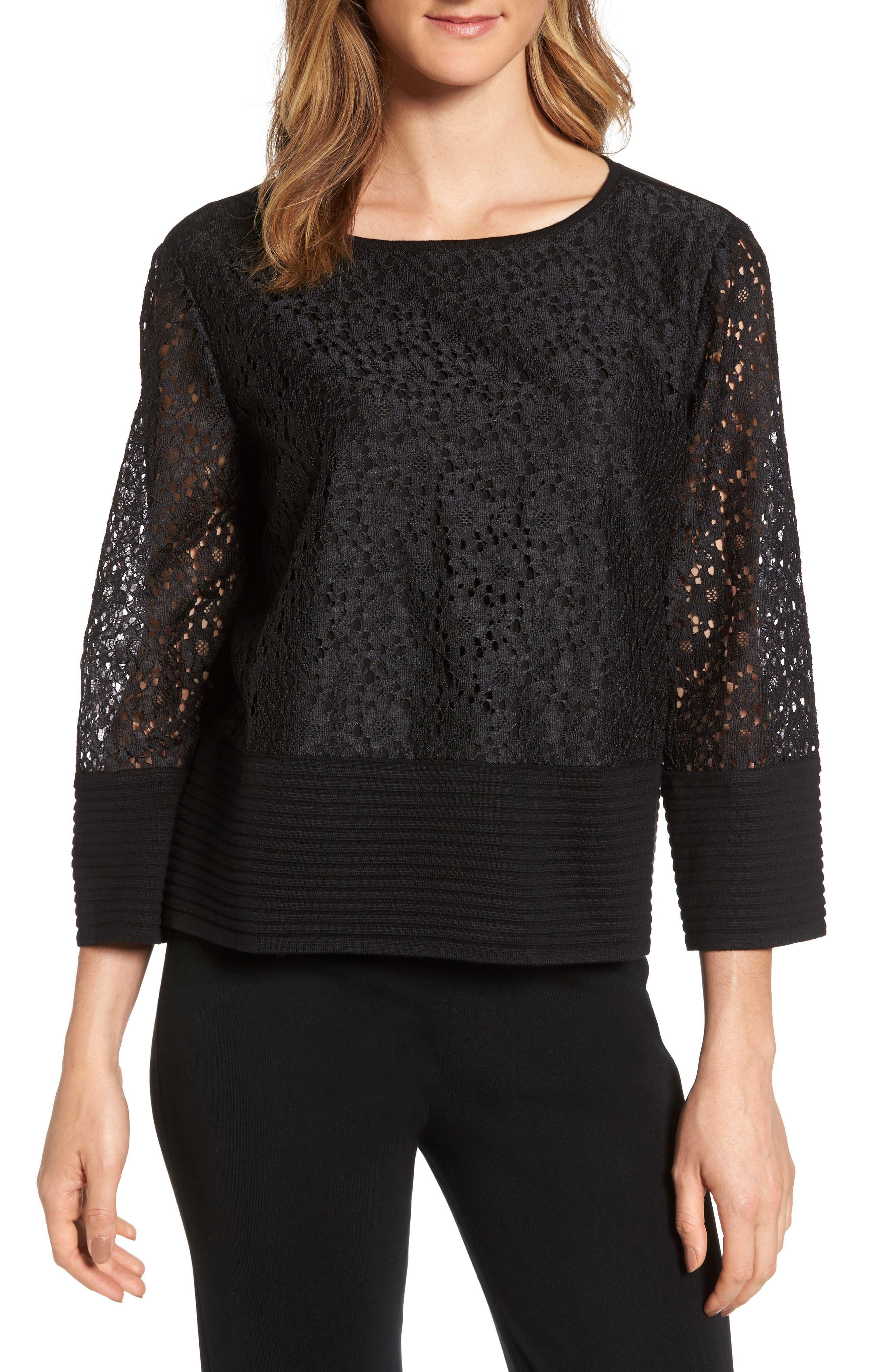 Lace & Knit Top,                         Main,                         color, Black