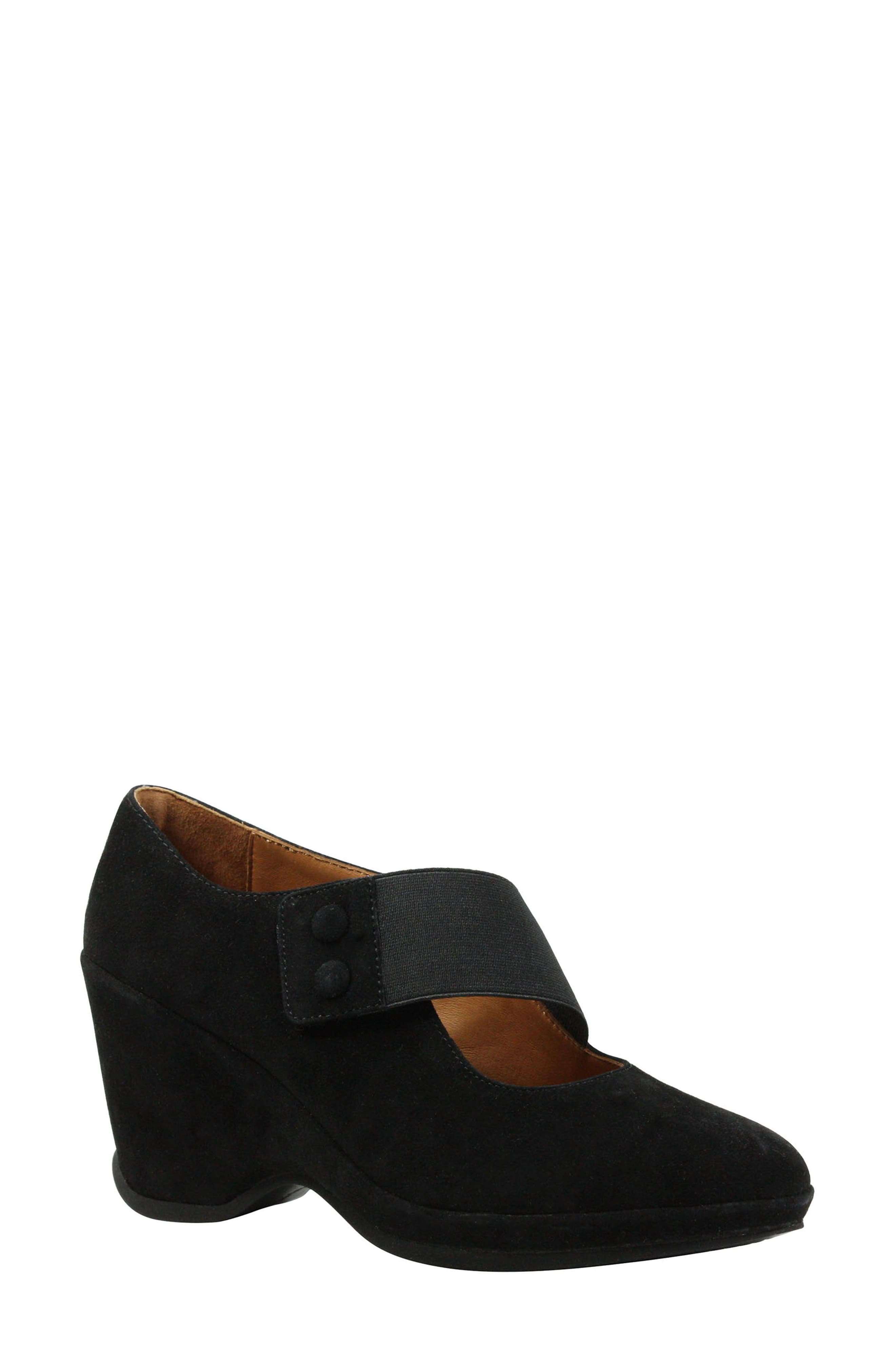Oriana Wedge,                             Main thumbnail 1, color,                             Black Suede