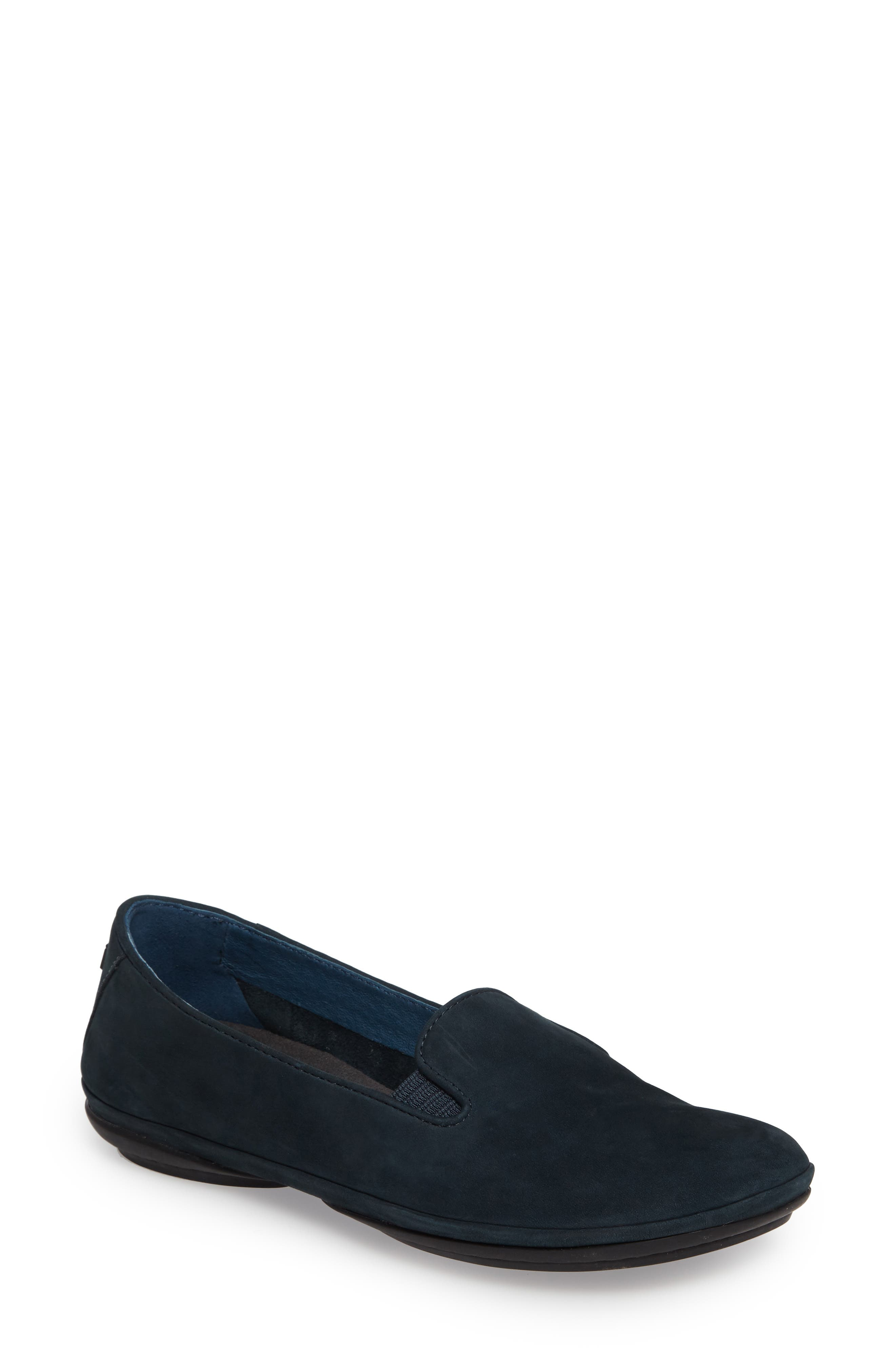 'Right Nina' Leather Flat,                             Main thumbnail 1, color,                             Dark Blue Leather