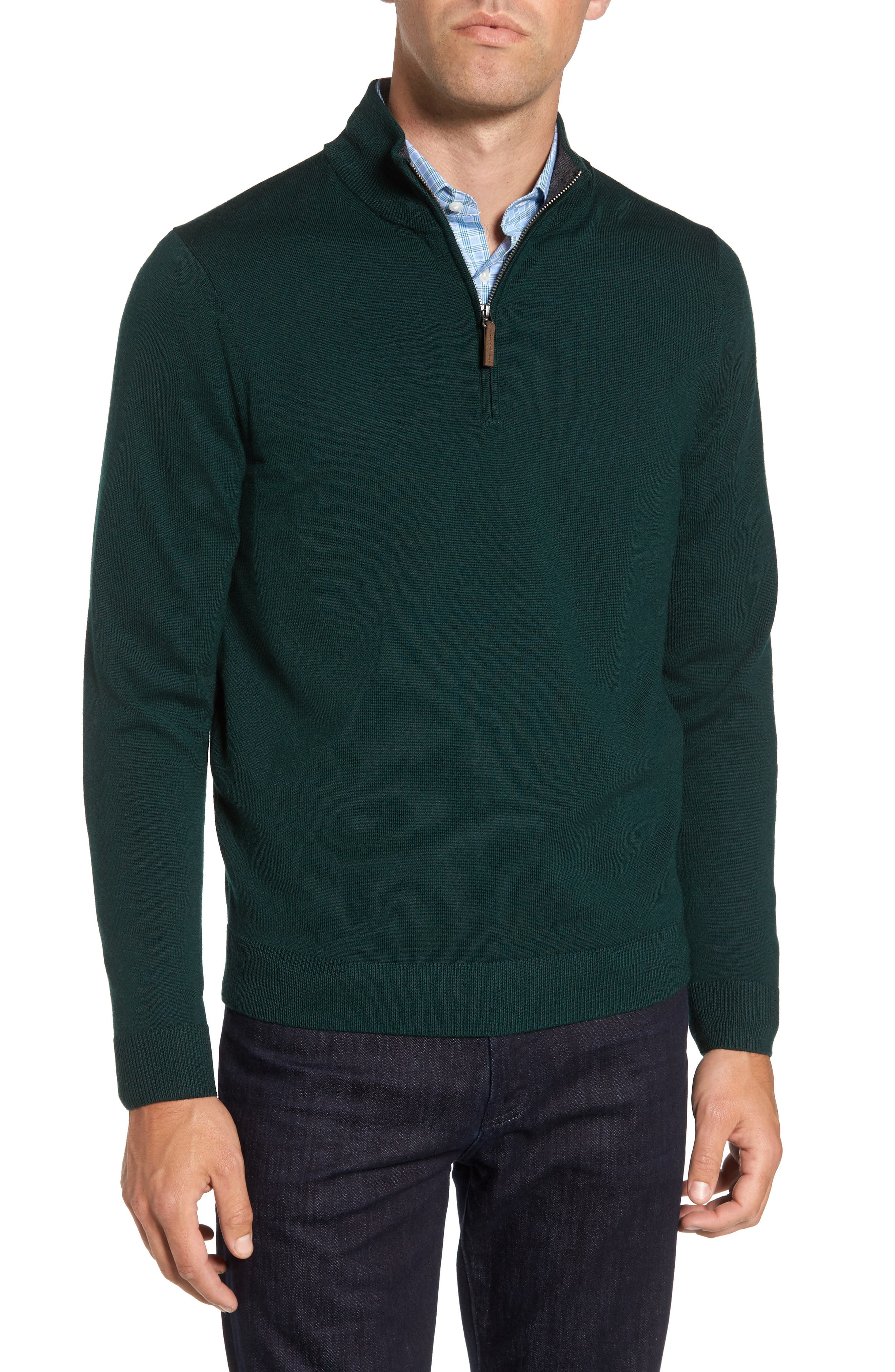 Alternate Image 1 Selected - Nordstrom Men's Shop Quarter Zip Wool Pullover