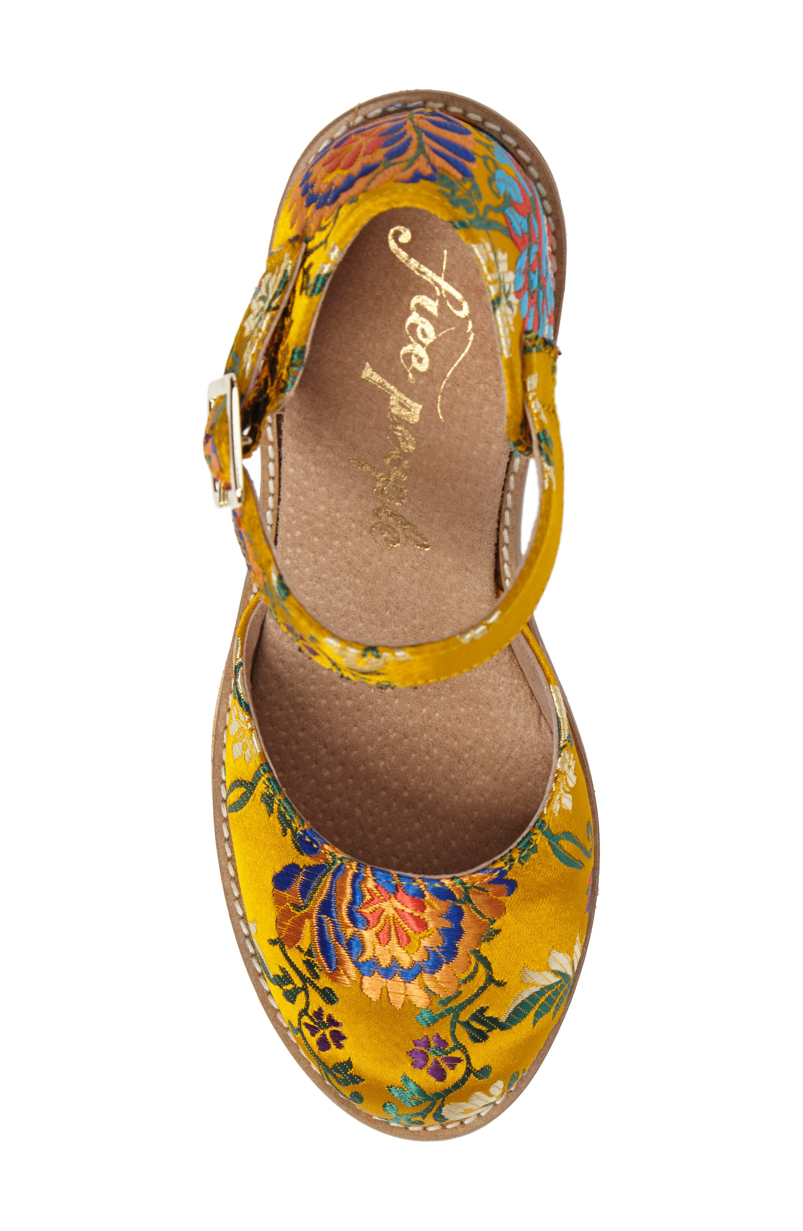 Starlet Embroidered Platform Pump,                             Alternate thumbnail 5, color,                             Yellow