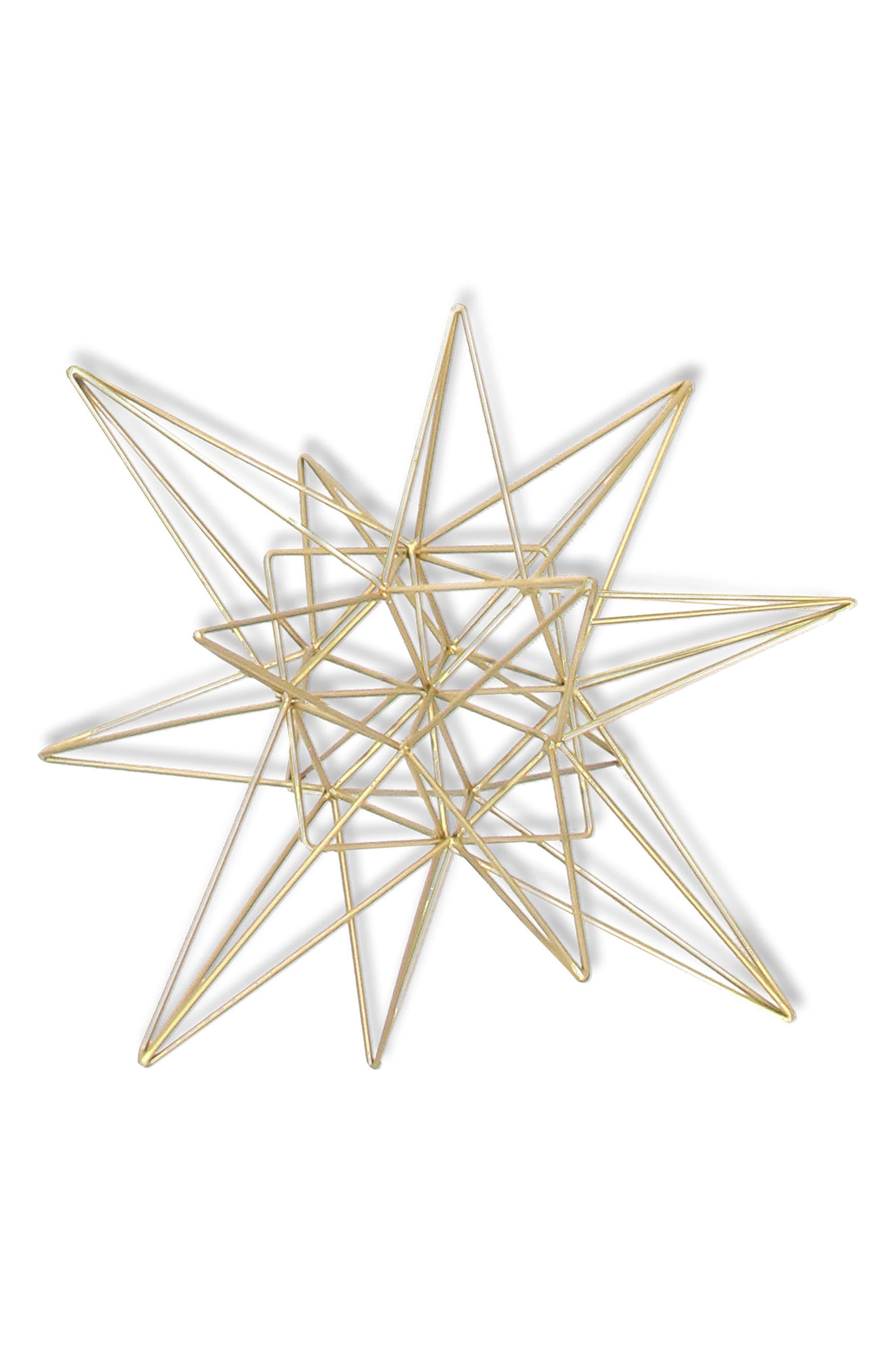3D Star Goldtone Tabletop Decoration,                         Main,                         color, Gold