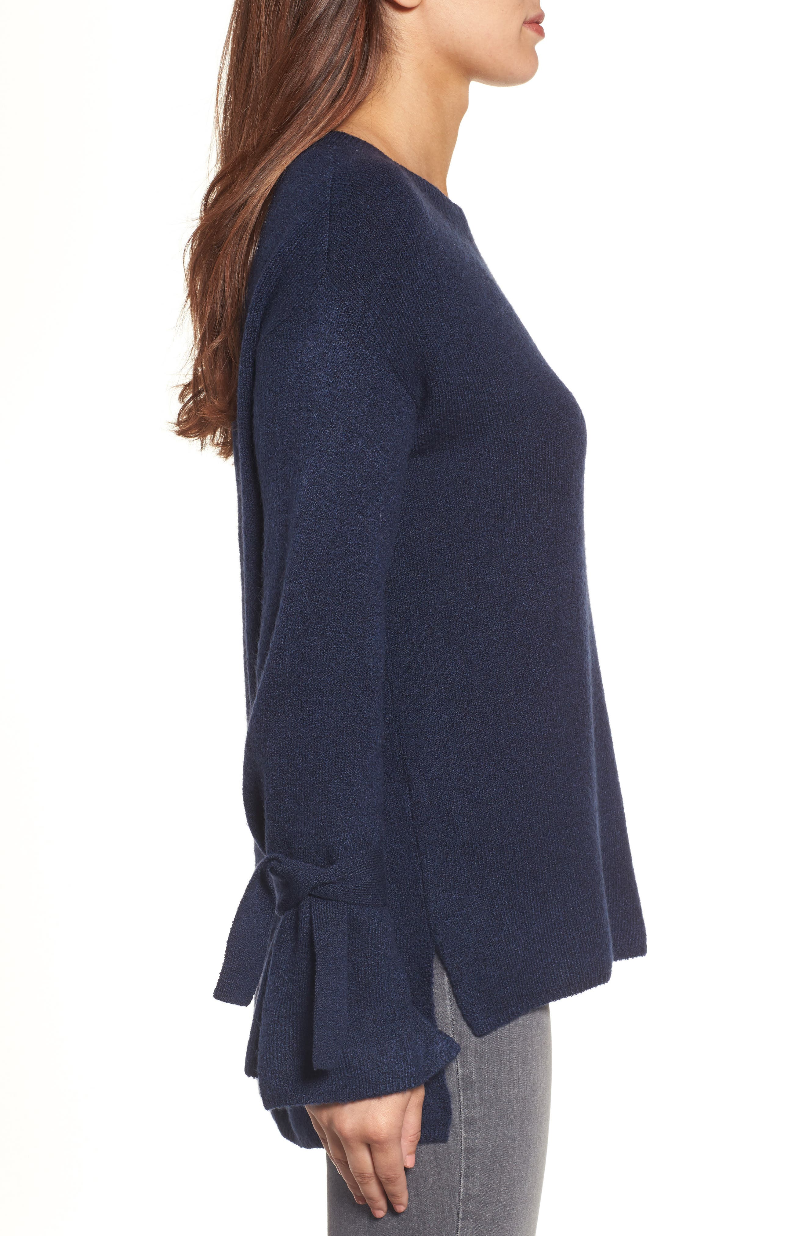 Alternate Image 4  - Halogen® Tie Bell Sleeve Sweater (Regular & Petite)