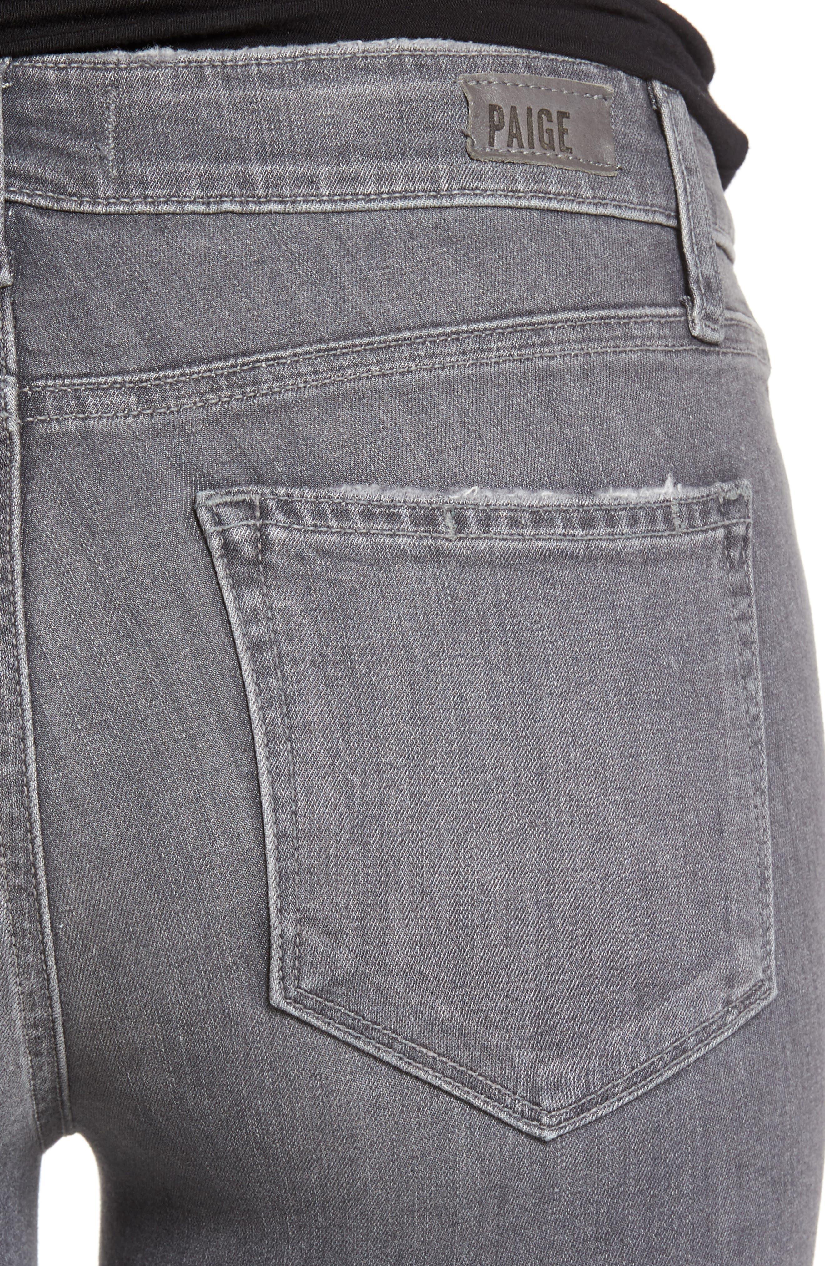 Alternate Image 5  - PAIGE Verdugo Raw Hem Ankle Skinny Jeans (Sea Salt)