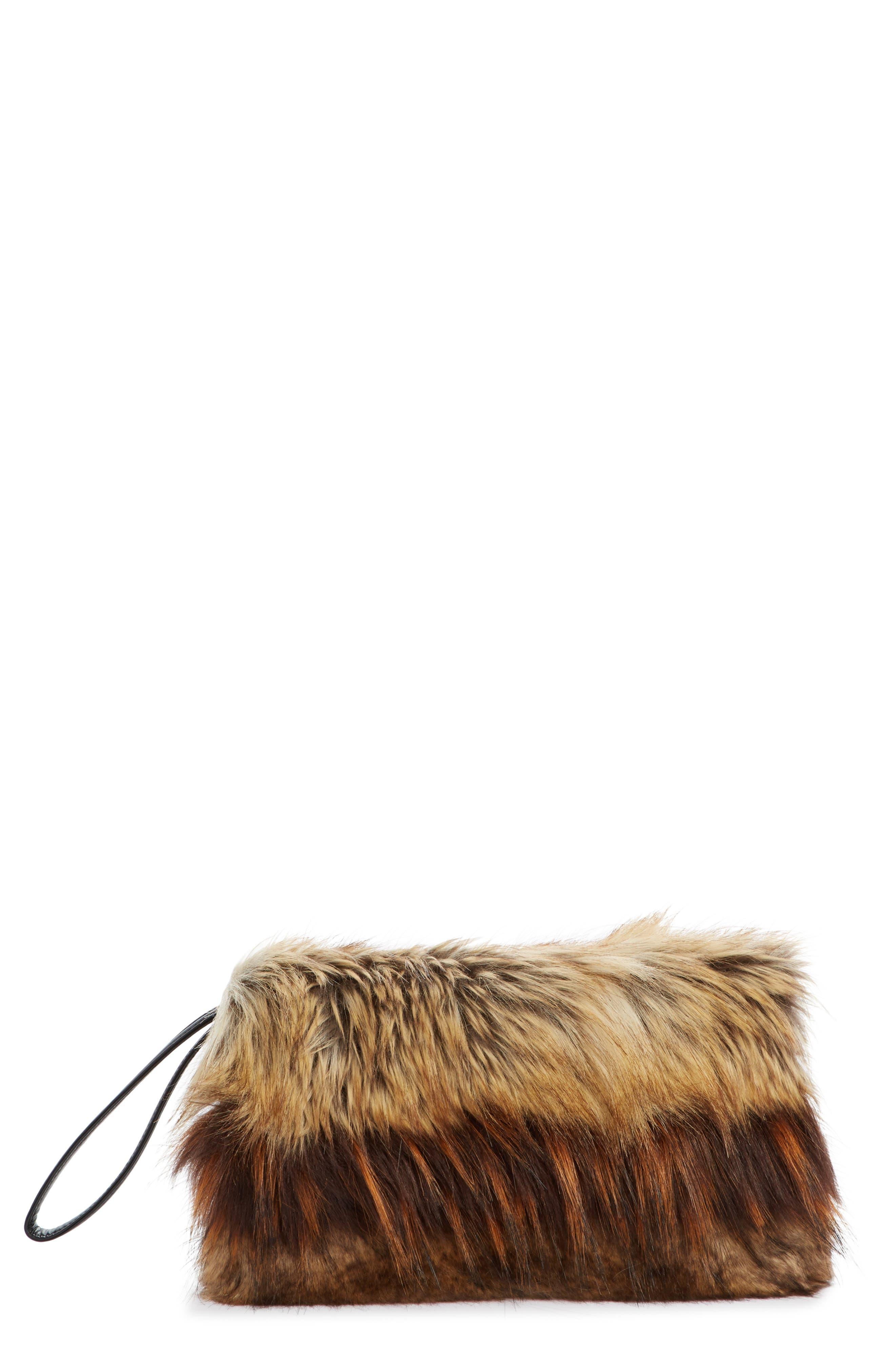 Faux Fur Clutch,                             Main thumbnail 1, color,                             Natural