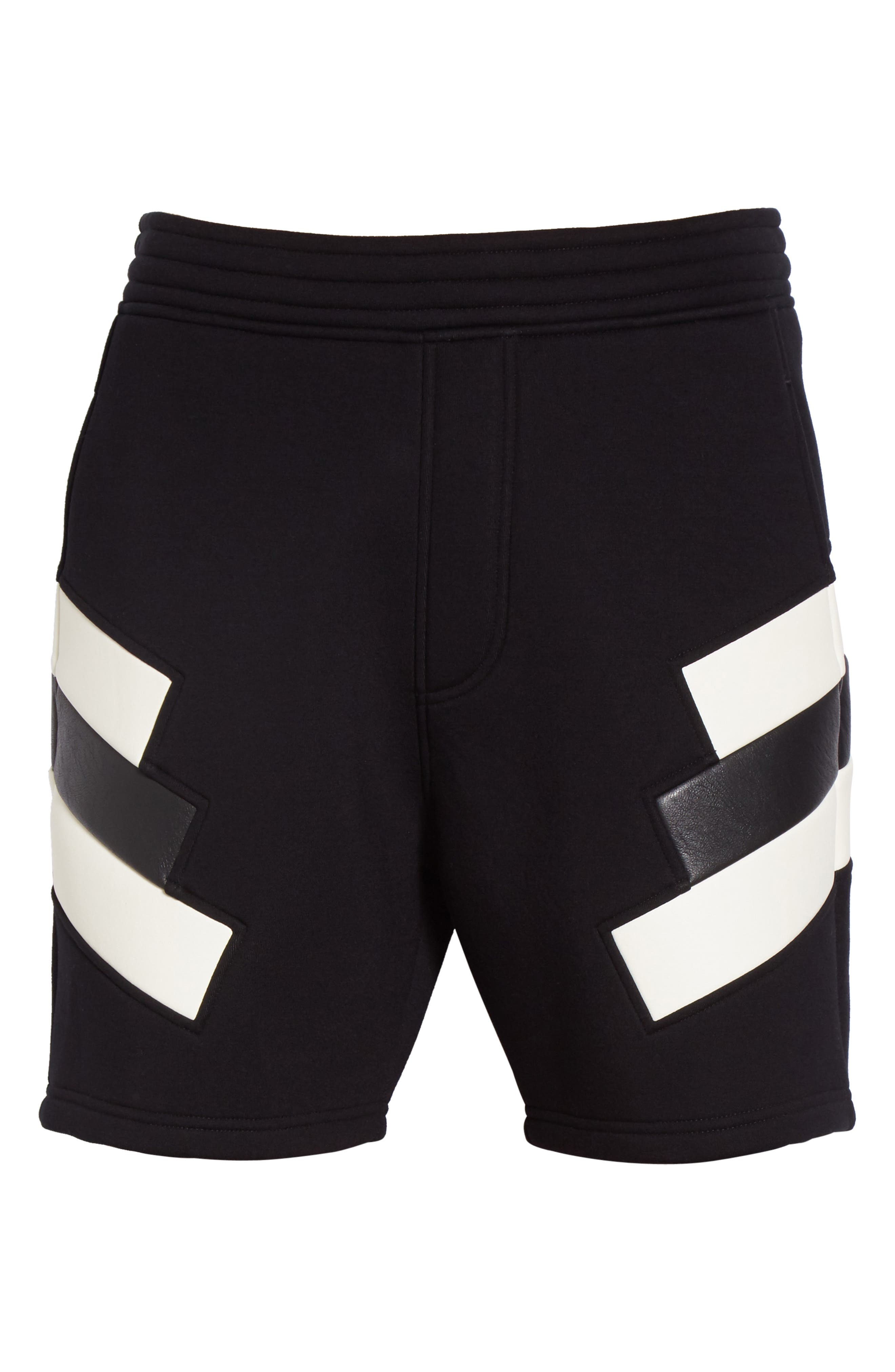 Retro Faux Leather Trim Sweat Shorts,                             Alternate thumbnail 6, color,                             Black/ Off White