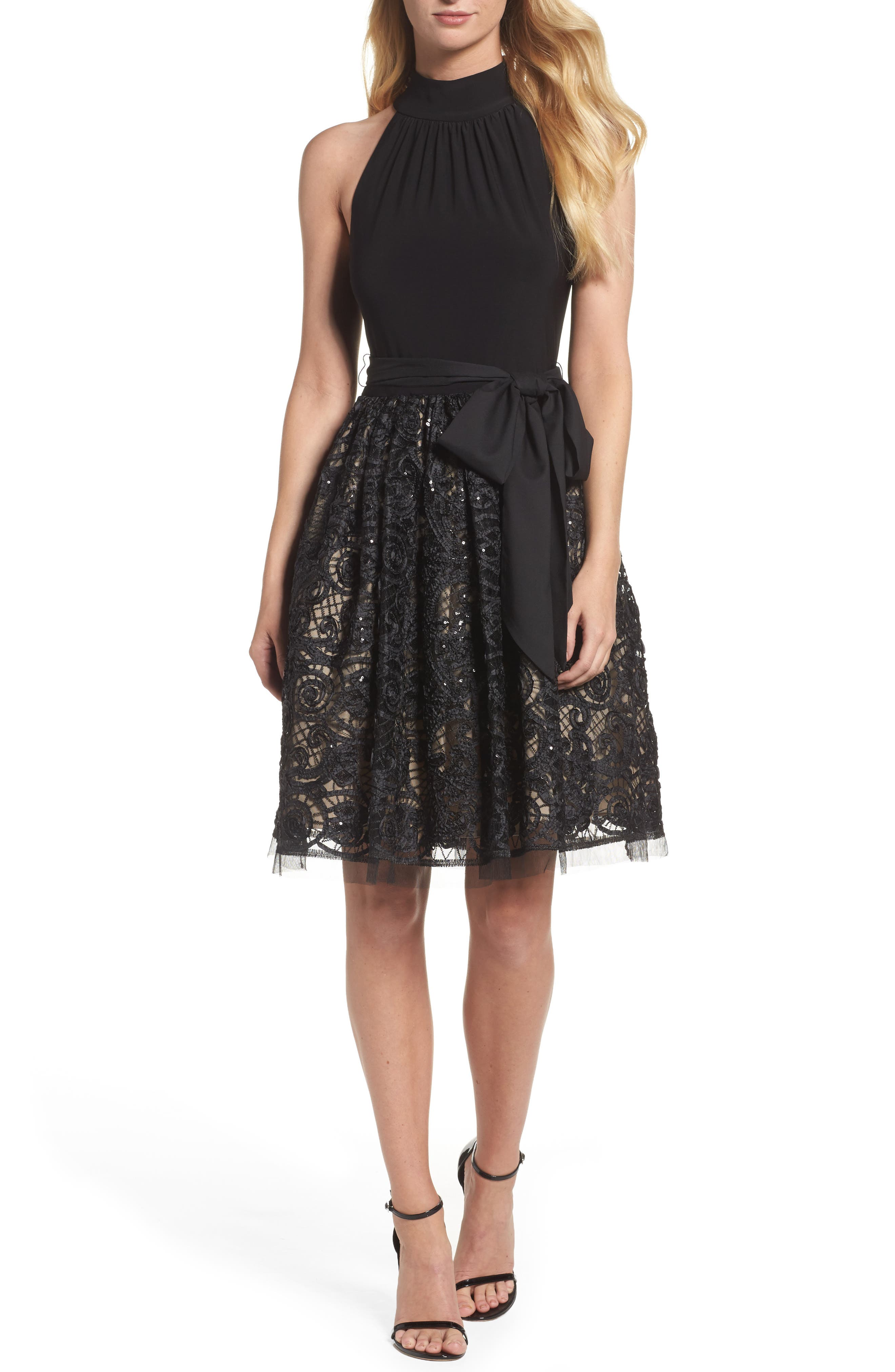 High Neck Jersey & Lace Party Dress,                         Main,                         color, Black