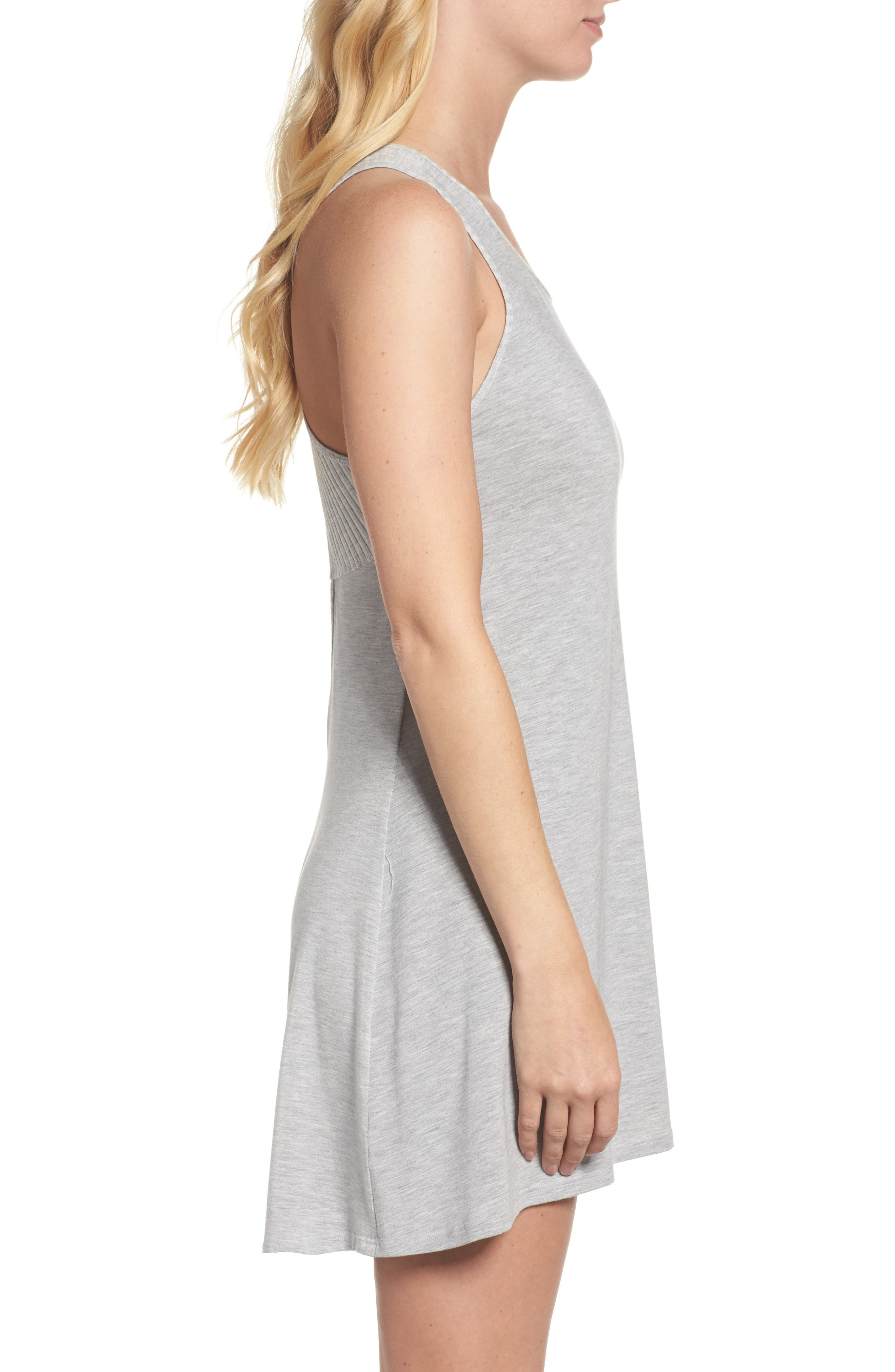 Chelsea High/Low Chemise,                             Alternate thumbnail 3, color,                             Heather Grey