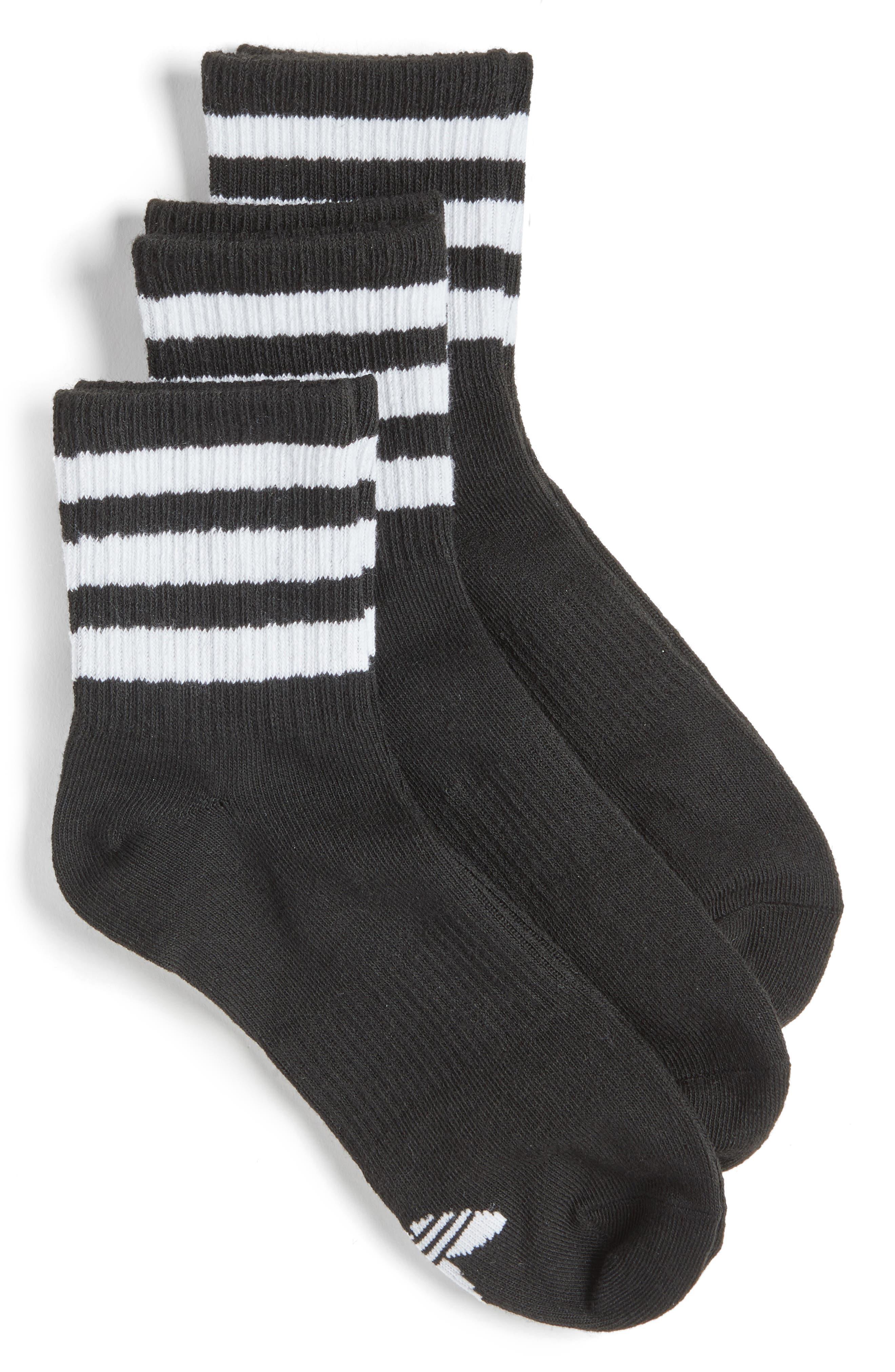 3-Pack 3-Stripe Ankle Socks,                         Main,                         color, Black
