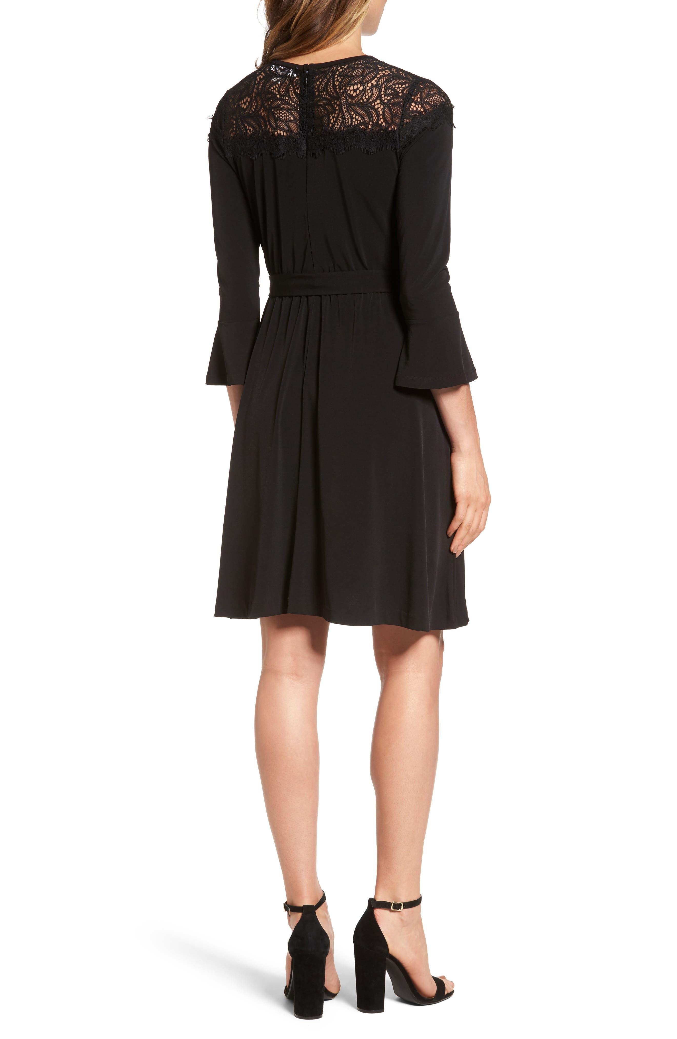 Flounce Sleeve Lace Dress,                             Alternate thumbnail 2, color,                             Black
