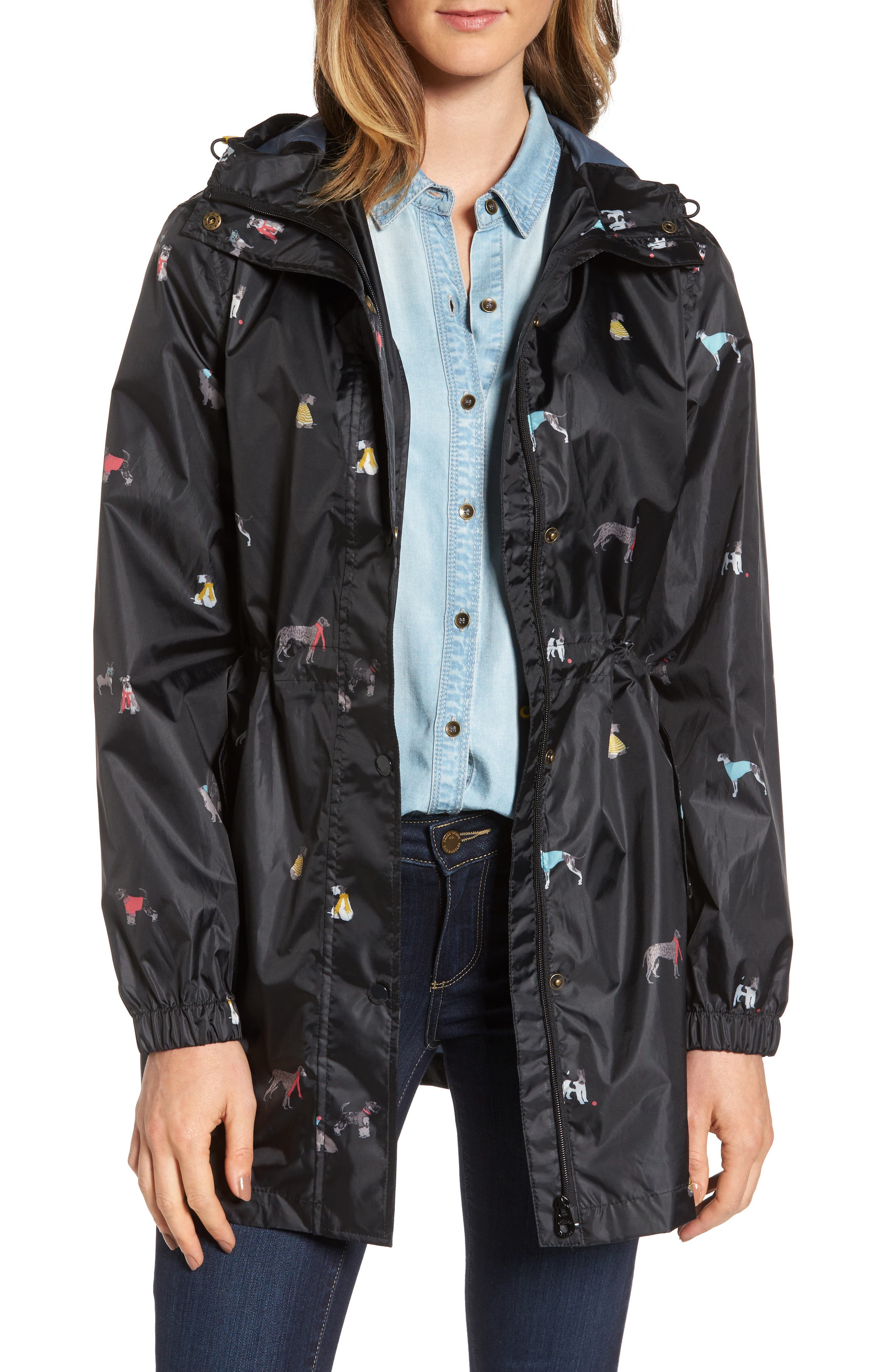 Main Image - Joules Right as Rain Packable Print Hooded Raincoat