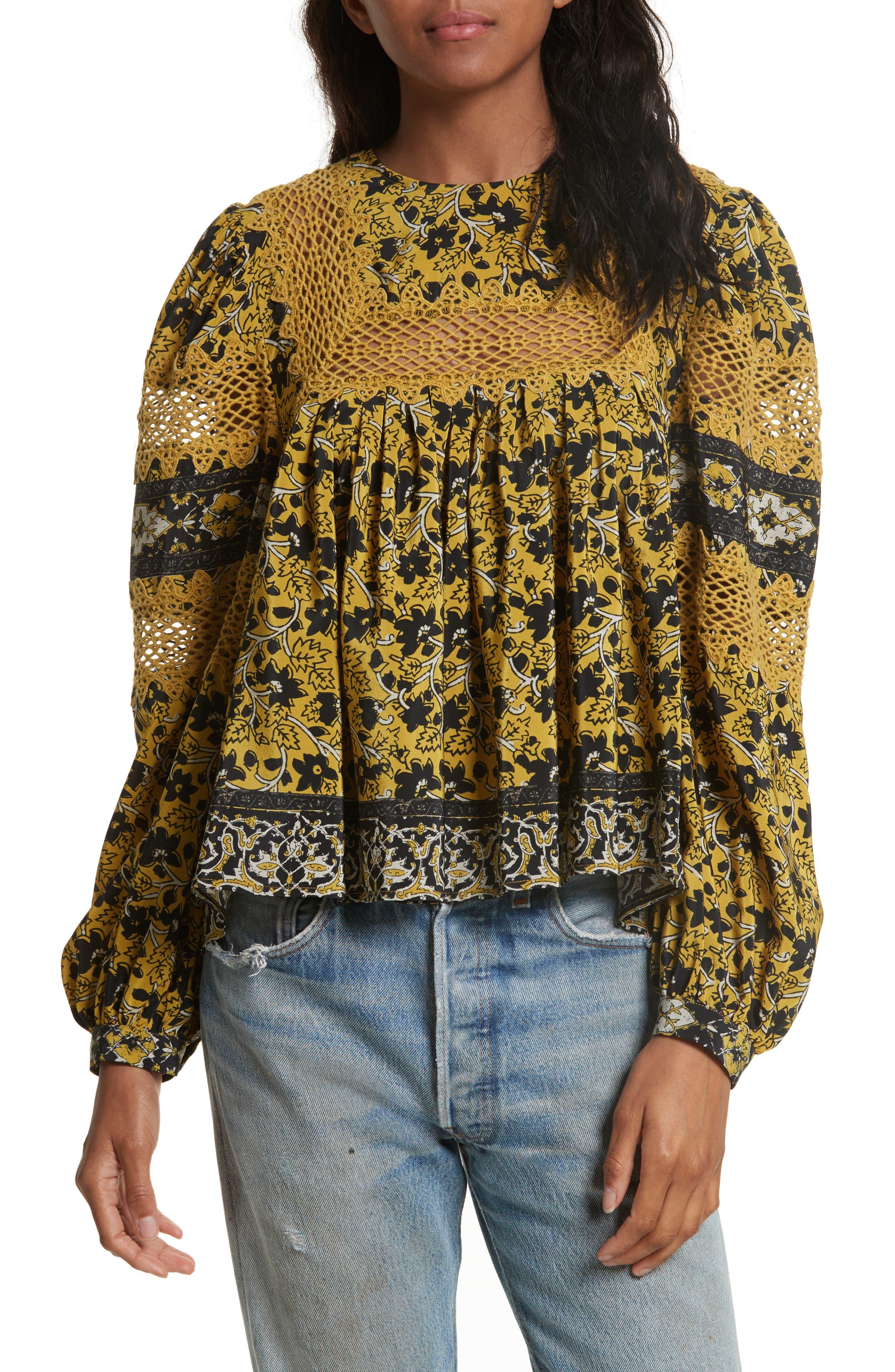 Lace Bib Print Silk Blouse,                         Main,                         color, Mustard/ Multi