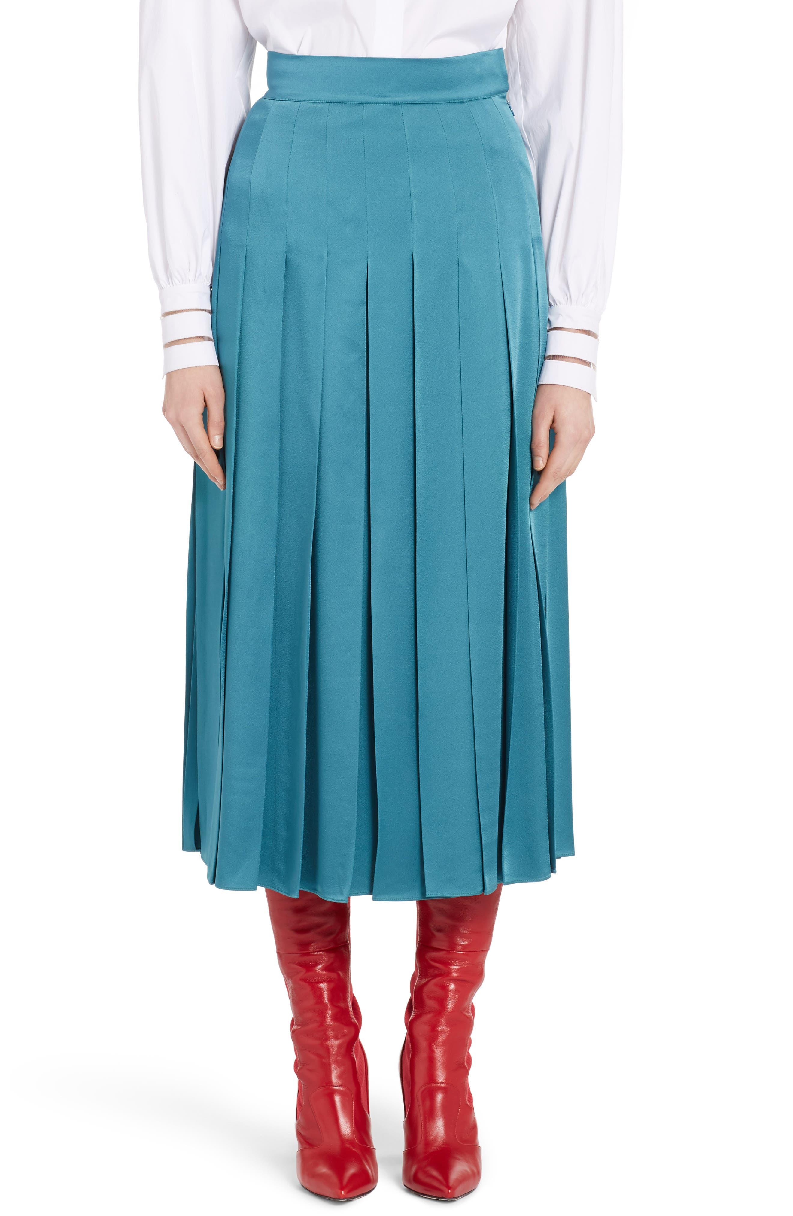 Fendi Pleated Satin Cady Midi Skirt