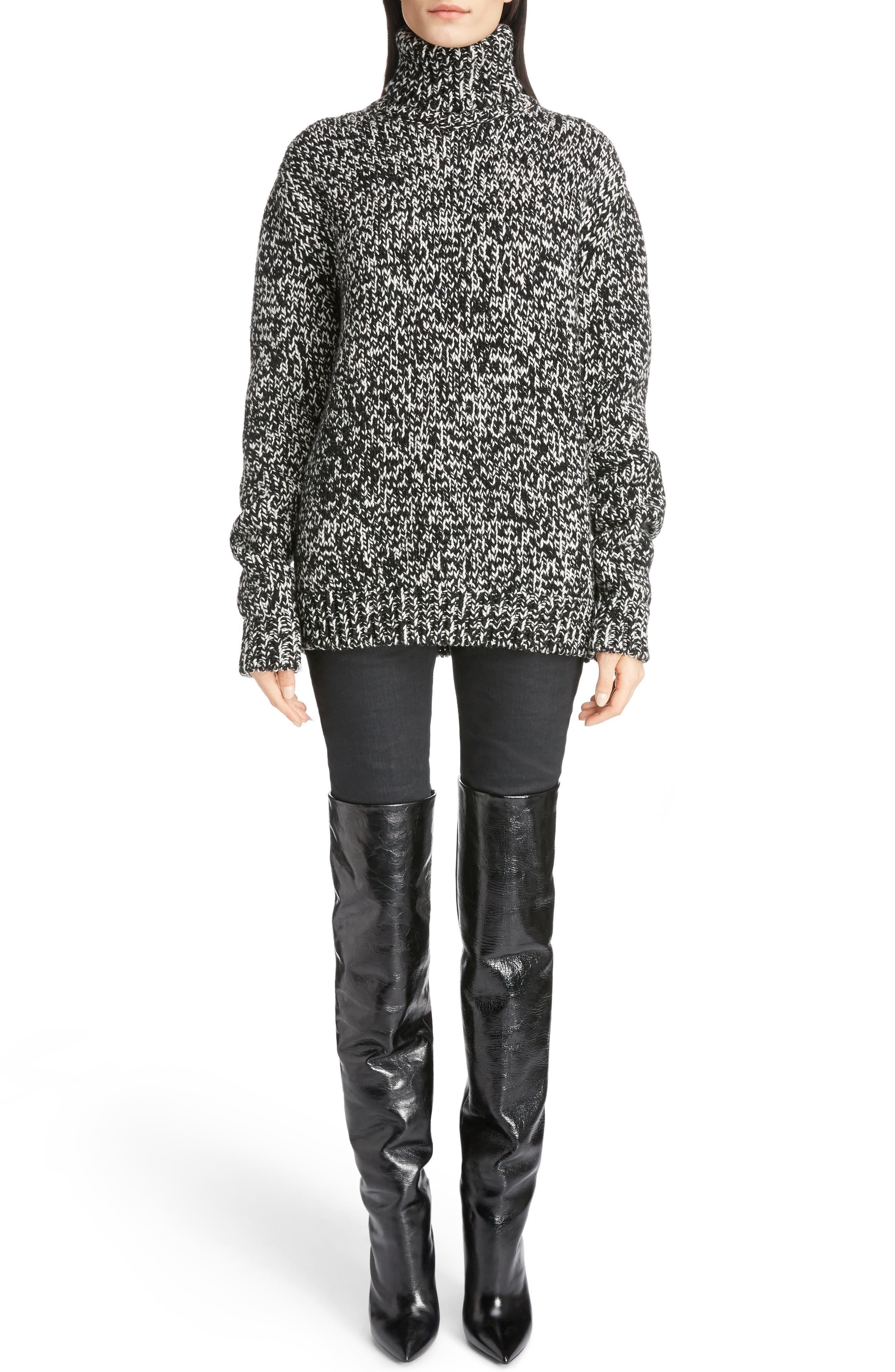 Mélange Knit Wool Turtleneck Sweater,                         Main,                         color, Natural/ Black