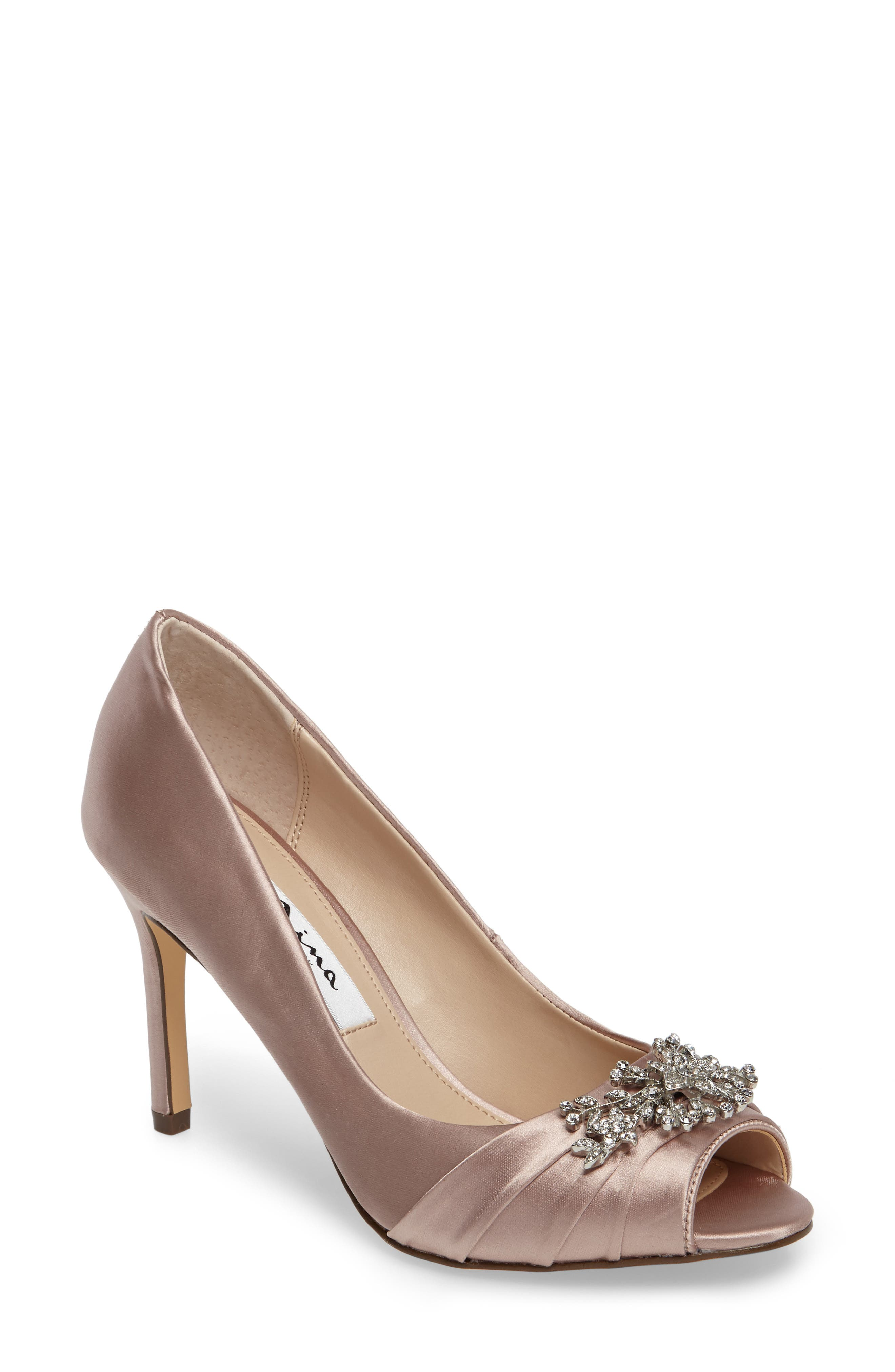 Nina Rumina Embellished Peep Toe Pump (Women)