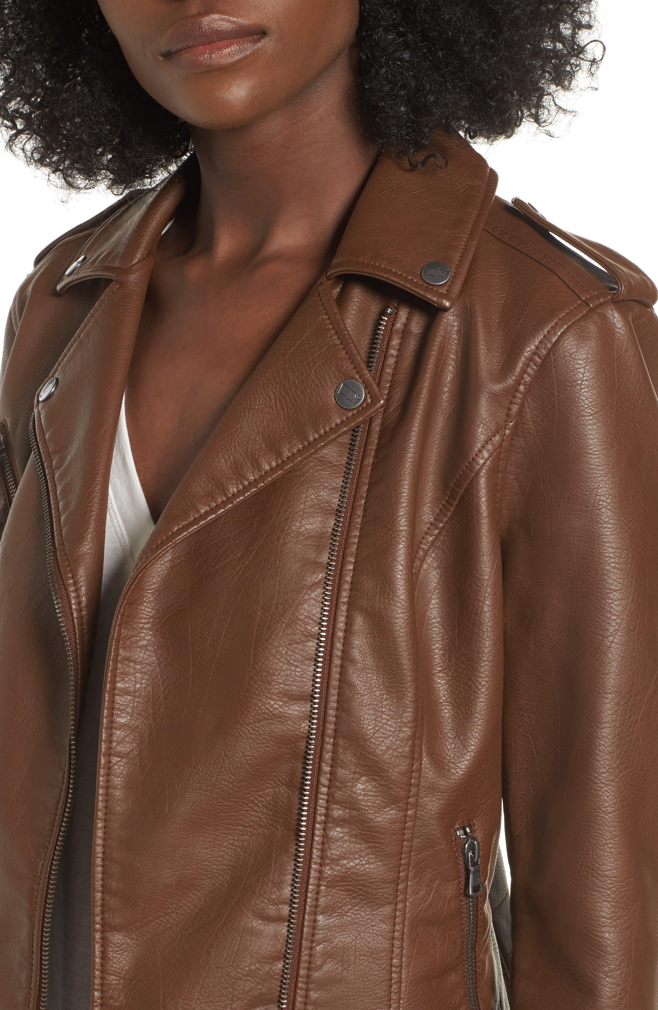 Faux Leather Moto Jacket,                             Alternate thumbnail 4, color,                             Cognac