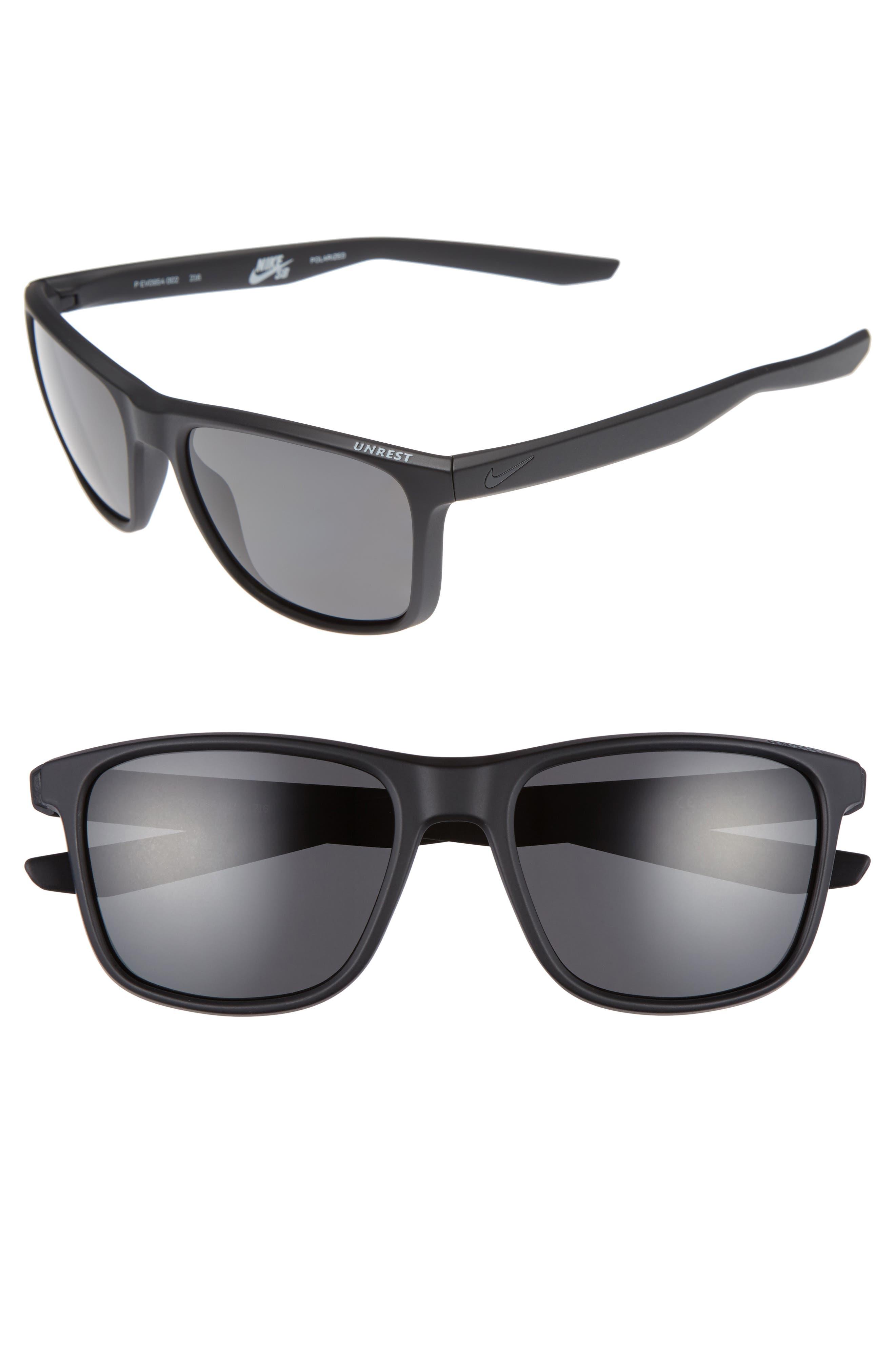 Unrest 57mm Polarized Sunglasses,                             Main thumbnail 1, color,                             Matte Black/ Deep Pewter
