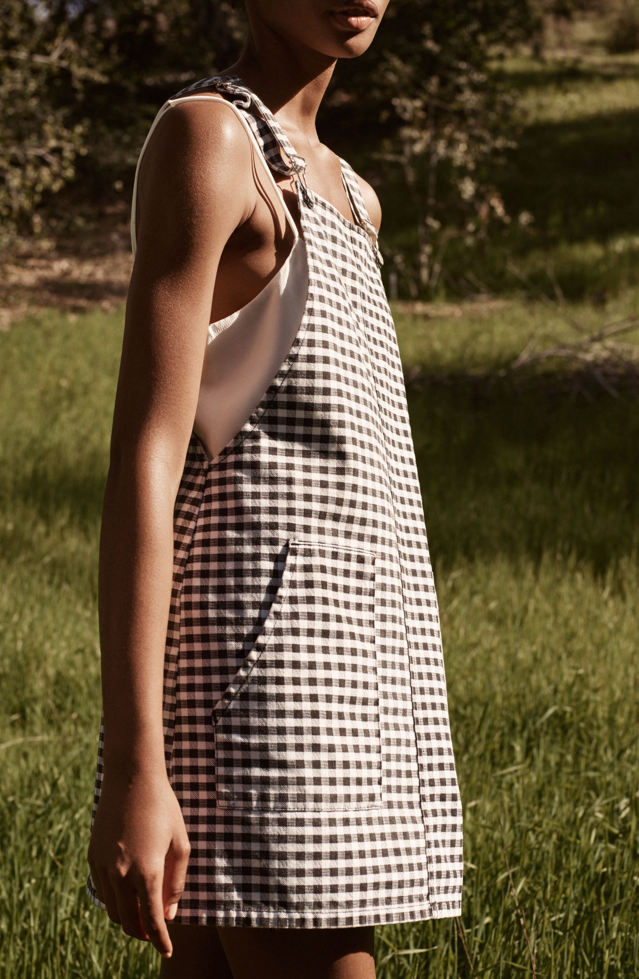Alternate Image 2  - Topshop Gingham Pinafore Dress