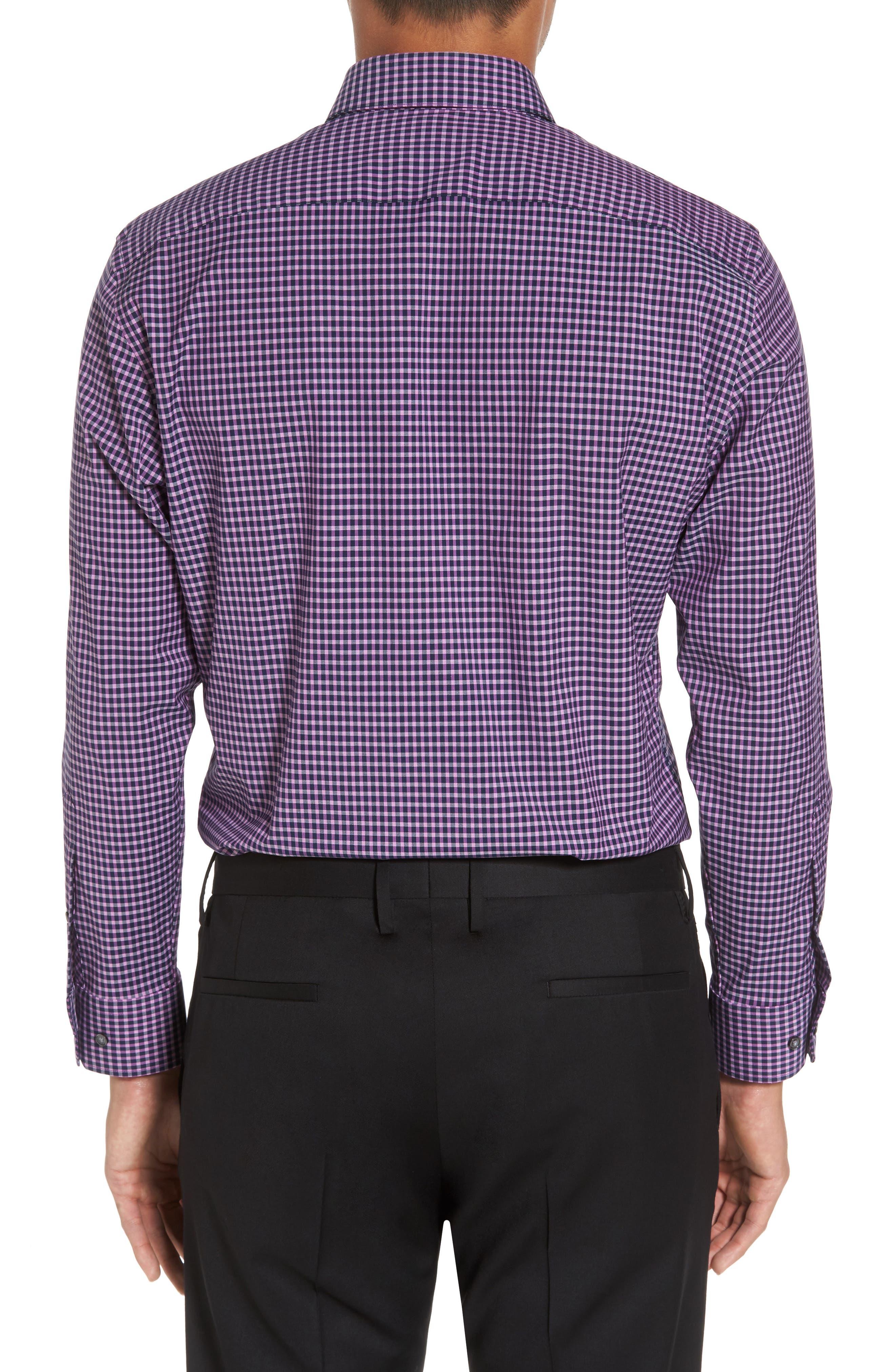 Trim Fit Non-Iron Check Stretch Dress Shirt,                             Alternate thumbnail 3, color,                             Purple Iris