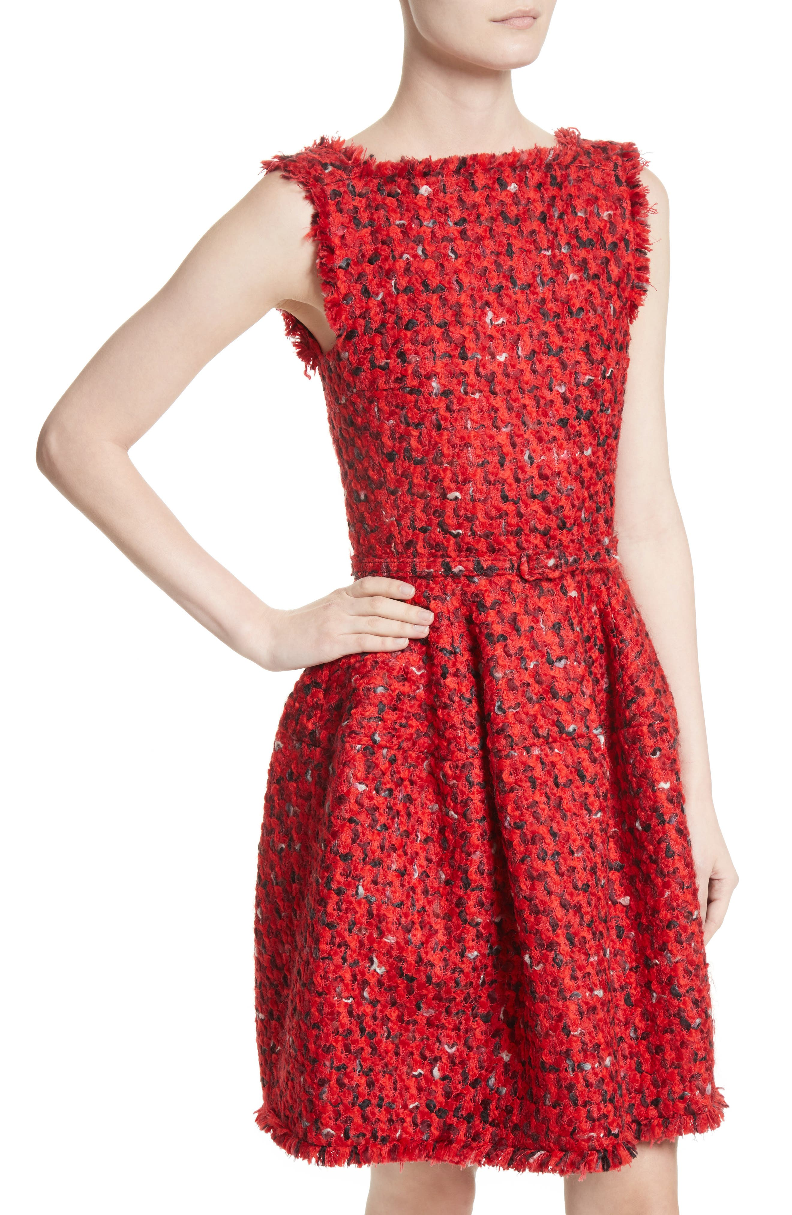 Belted Tweed Dress,                             Alternate thumbnail 7, color,                             Red Multi