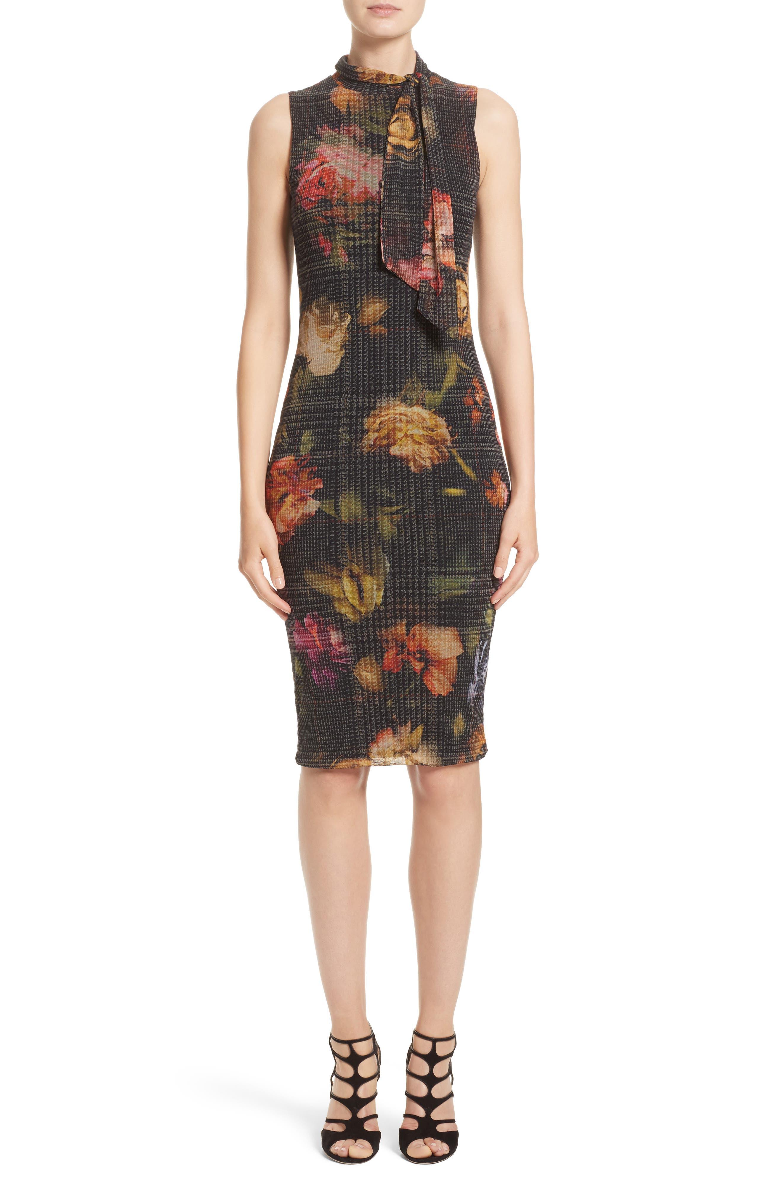 Fuzzi Floral Print Tulle Tie Neck Dress