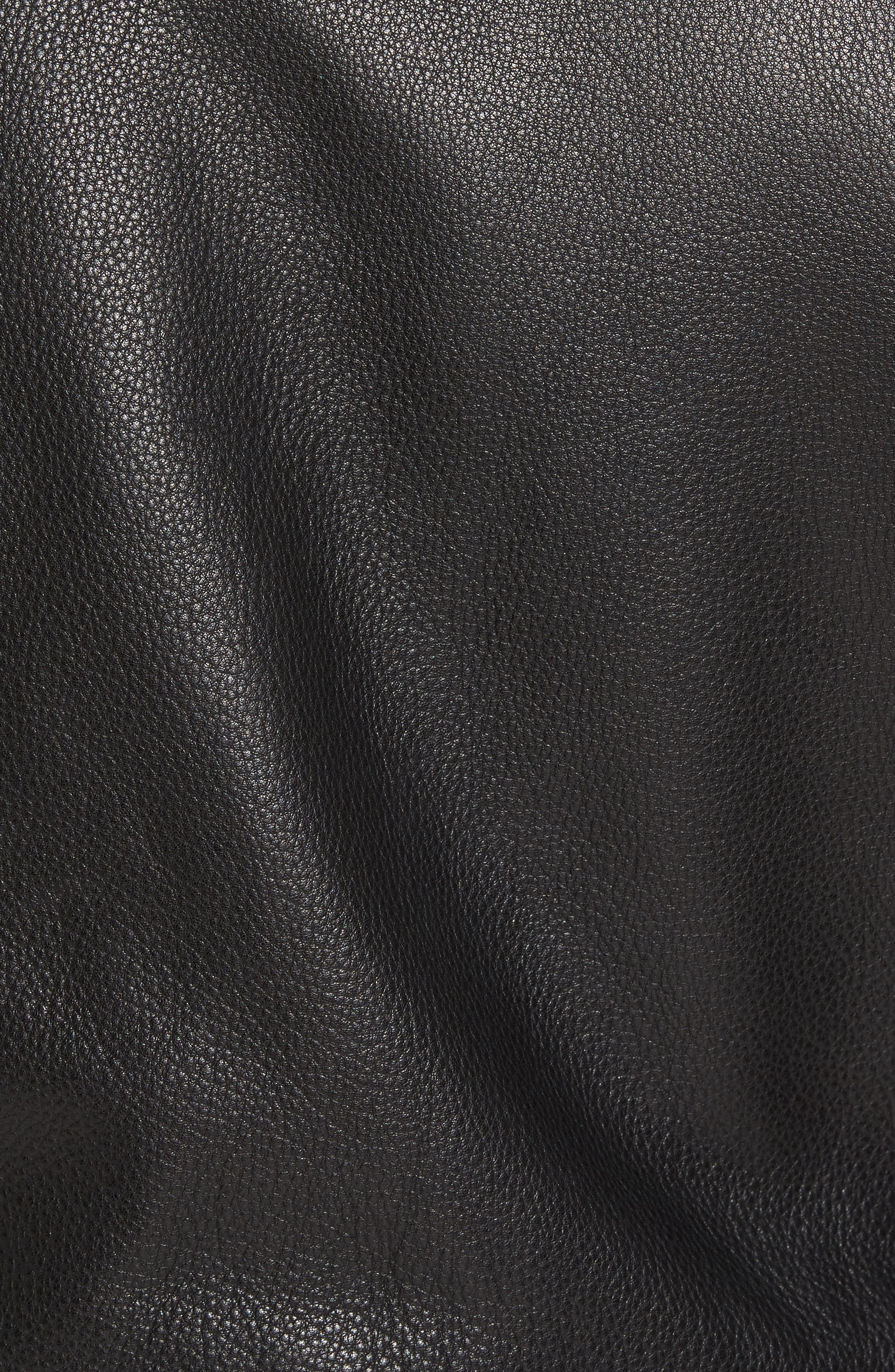 Staines Leather Moto Jacket,                             Alternate thumbnail 5, color,                             Black