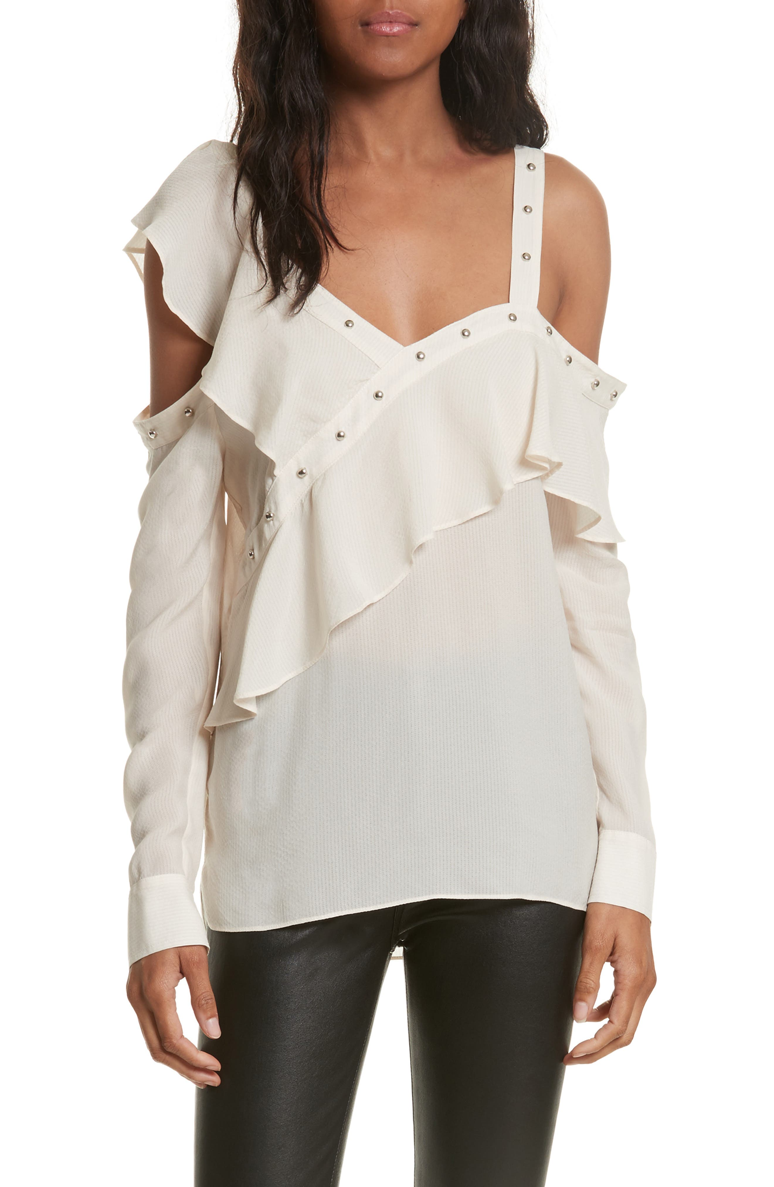 Clementine Off the Shoulder Top,                         Main,                         color, White