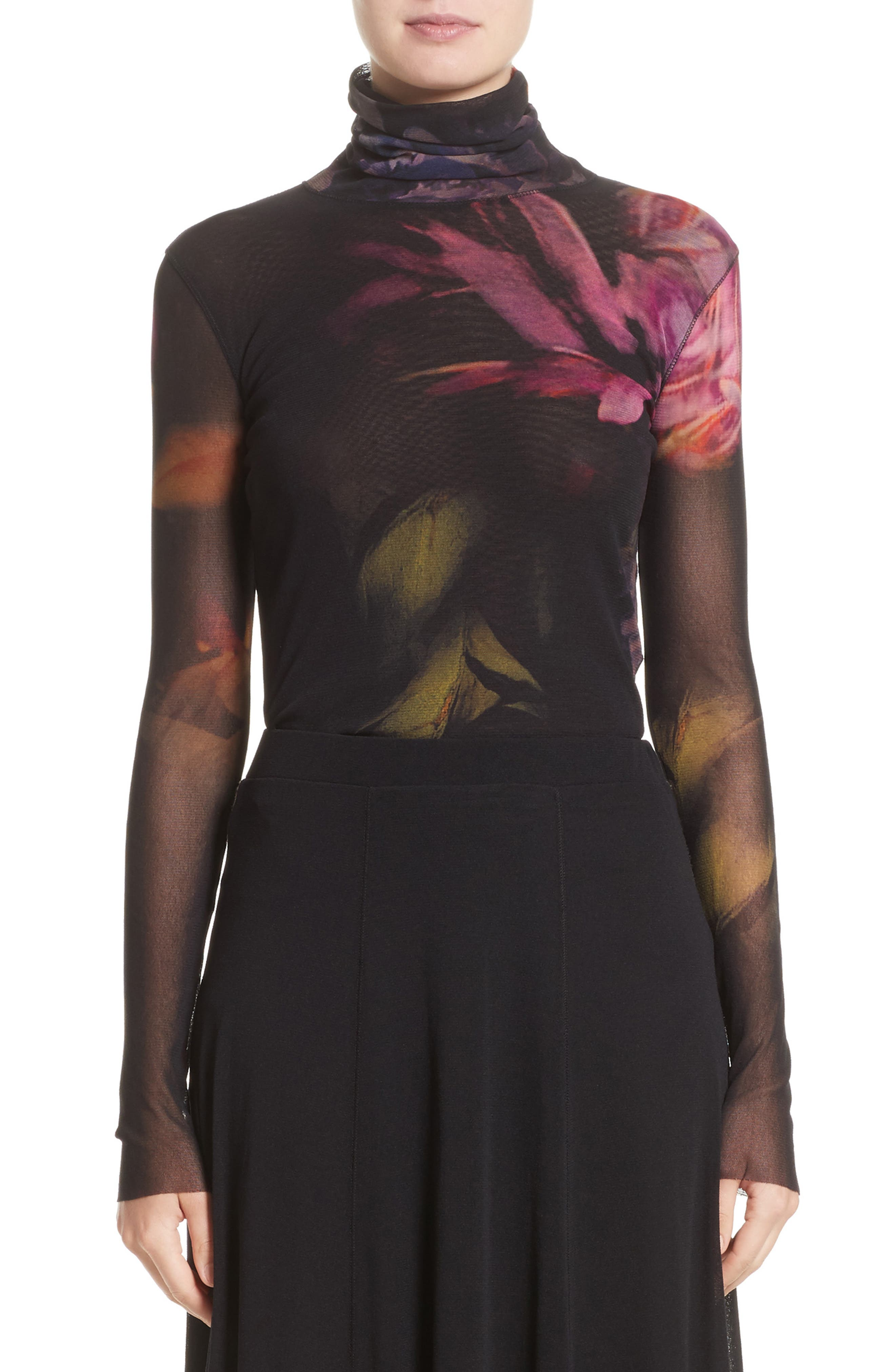 Fuzzi Floral Print Tulle Turtleneck Top