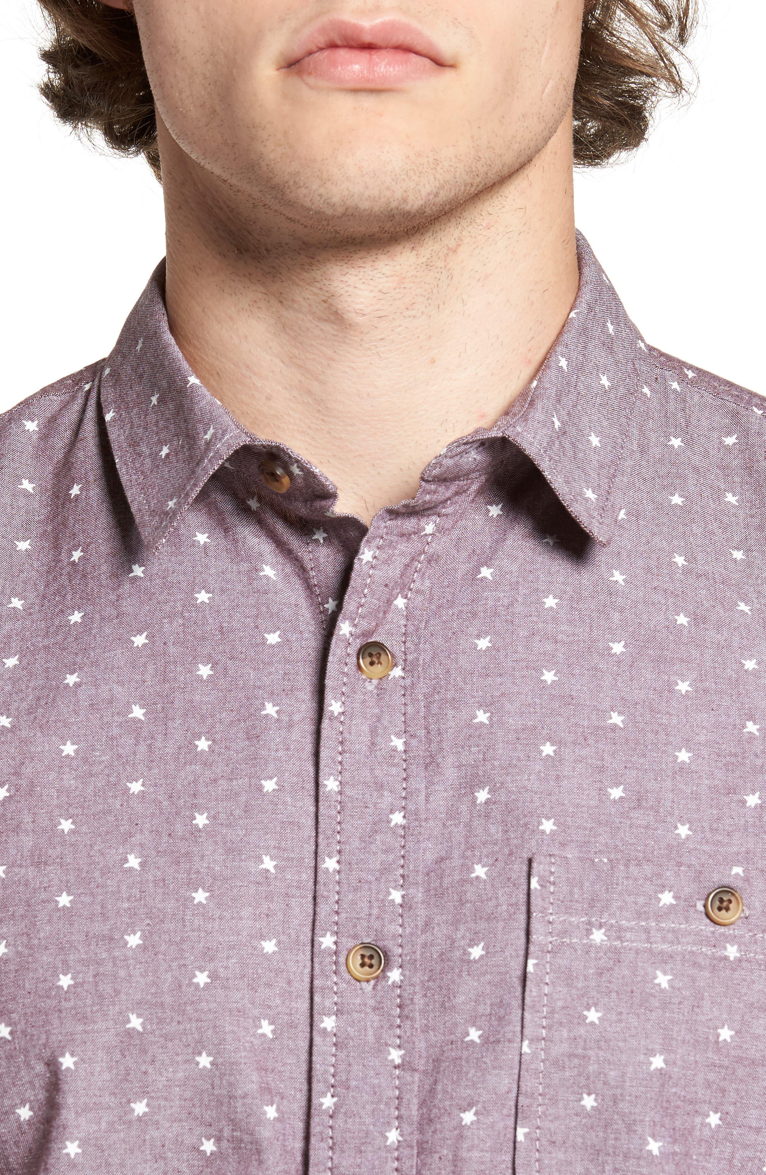 Star Chambray Shirt,                             Alternate thumbnail 4, color,                             Burgundy Stem Stars Print